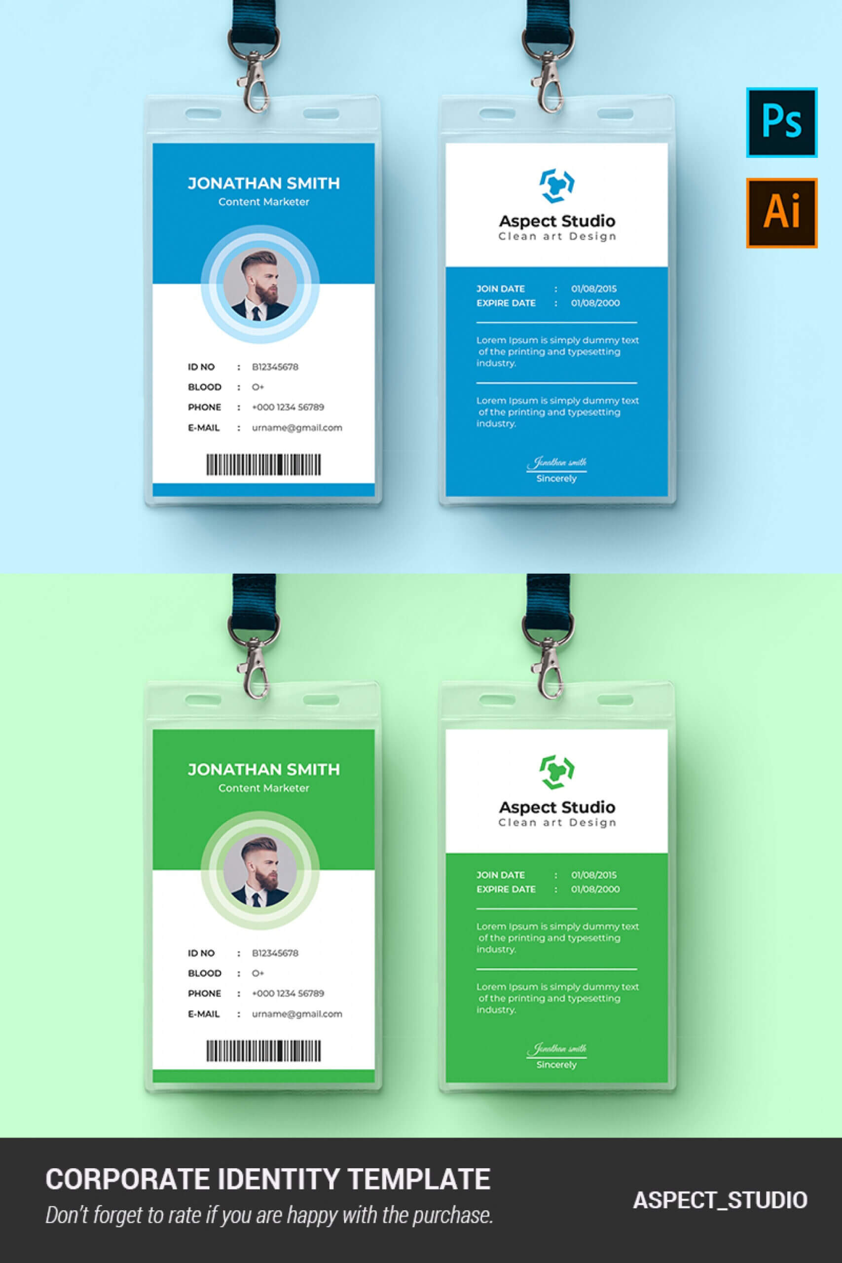 001 Employee Id Card Template Ai Free Download Ideas Blue Pertaining To Id Card Template Ai