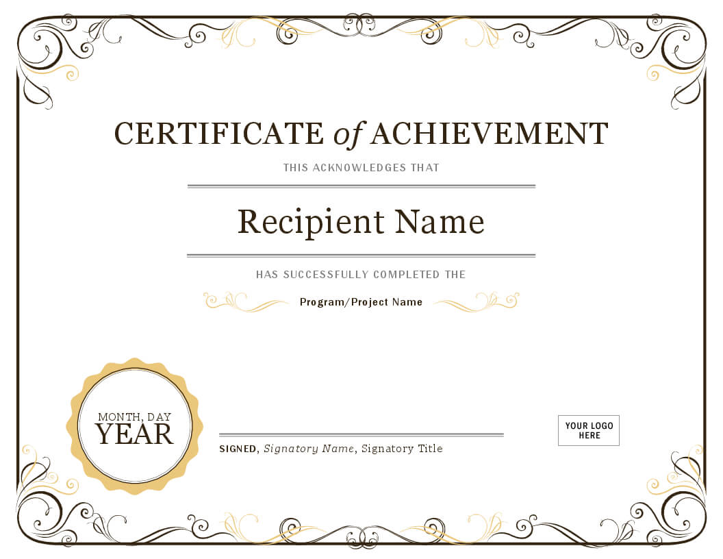 001 Word Certificate Template Download Of Achievement Image Regarding Word Certificate Of Achievement Template