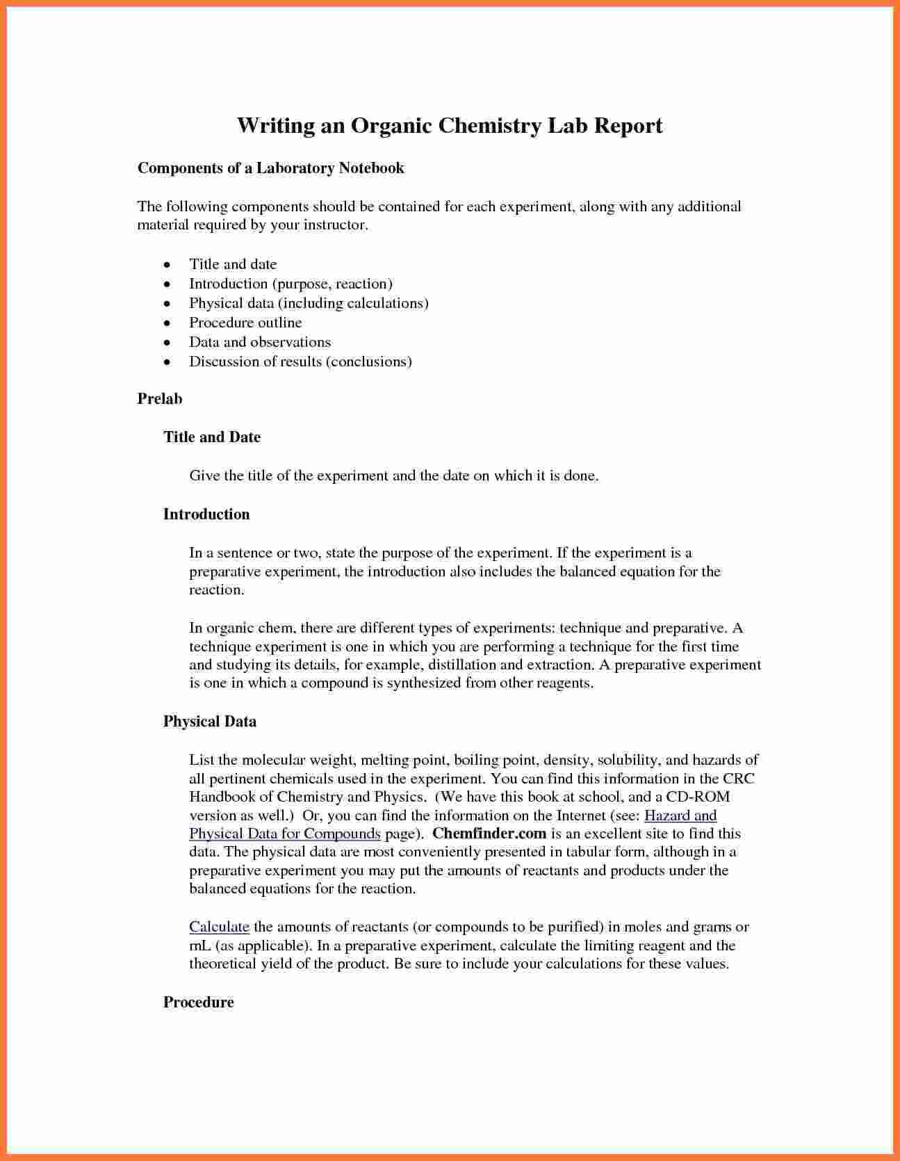 003 Organic Chemistry Lab Report Example Also Ibmistry For Chemistry Lab Report Template