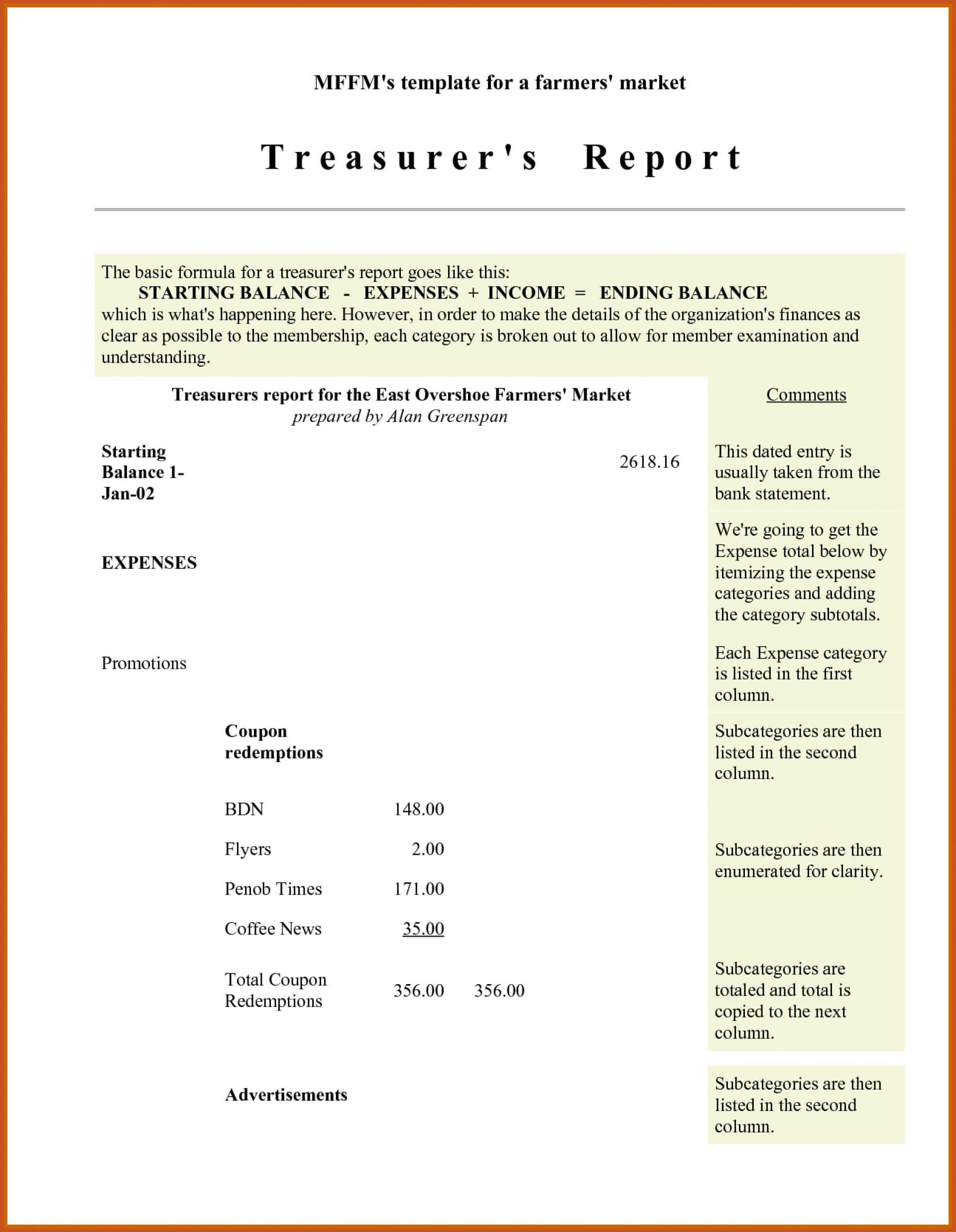 003 Treasurer Report Template Non Profit Sample Treasurers For Treasurer Report Template Non Profit