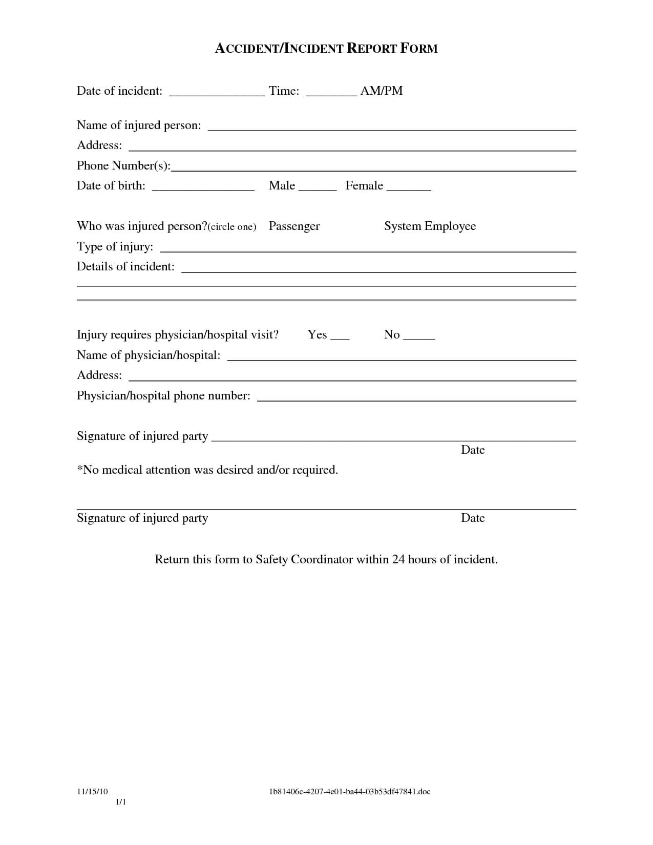 004 Vehicle Accident Report Form Template Doc Ideas Rare Intended For Incident Report Form Template Doc