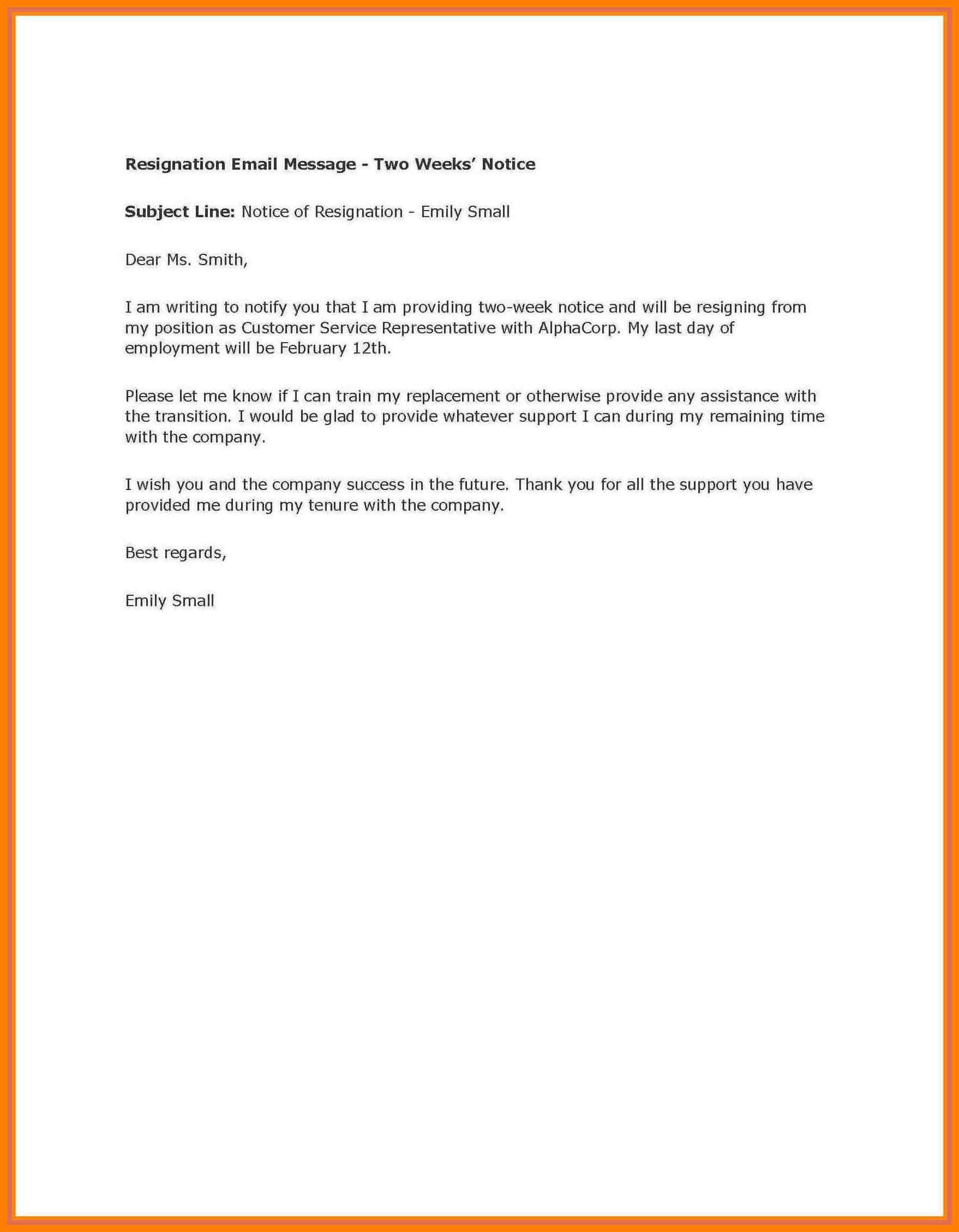 004 Week Notice Template Word Ideas Two Weeks Letter Example With Regard To 2 Weeks Notice Template Word