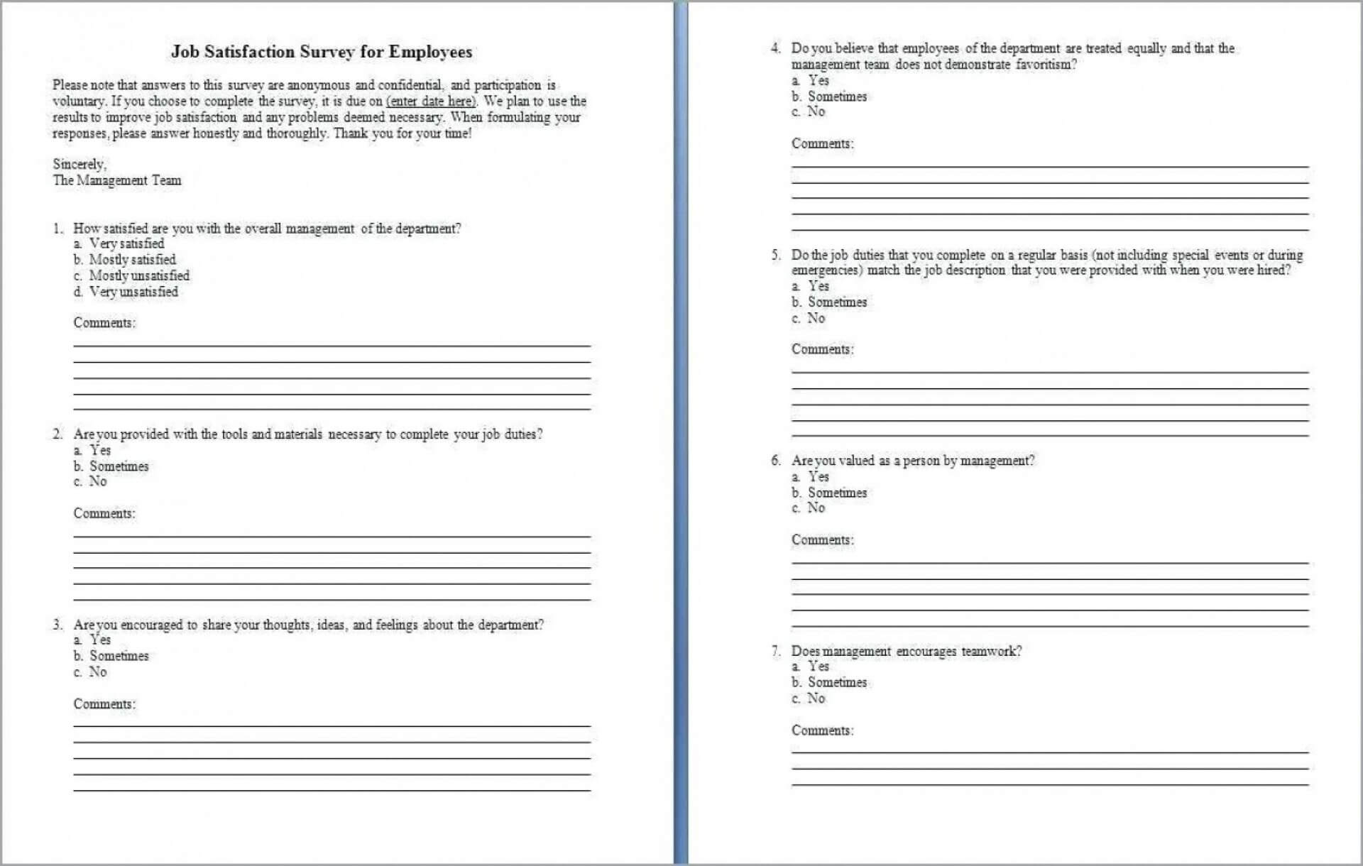 005 Employee Satisfaction Questionnaire Template Word Ideas With Employee Satisfaction Survey Template Word