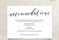 005 Free Wedding Accommodation Card Template Ideas Top Hotel with regard to Wedding Hotel Information Card Template