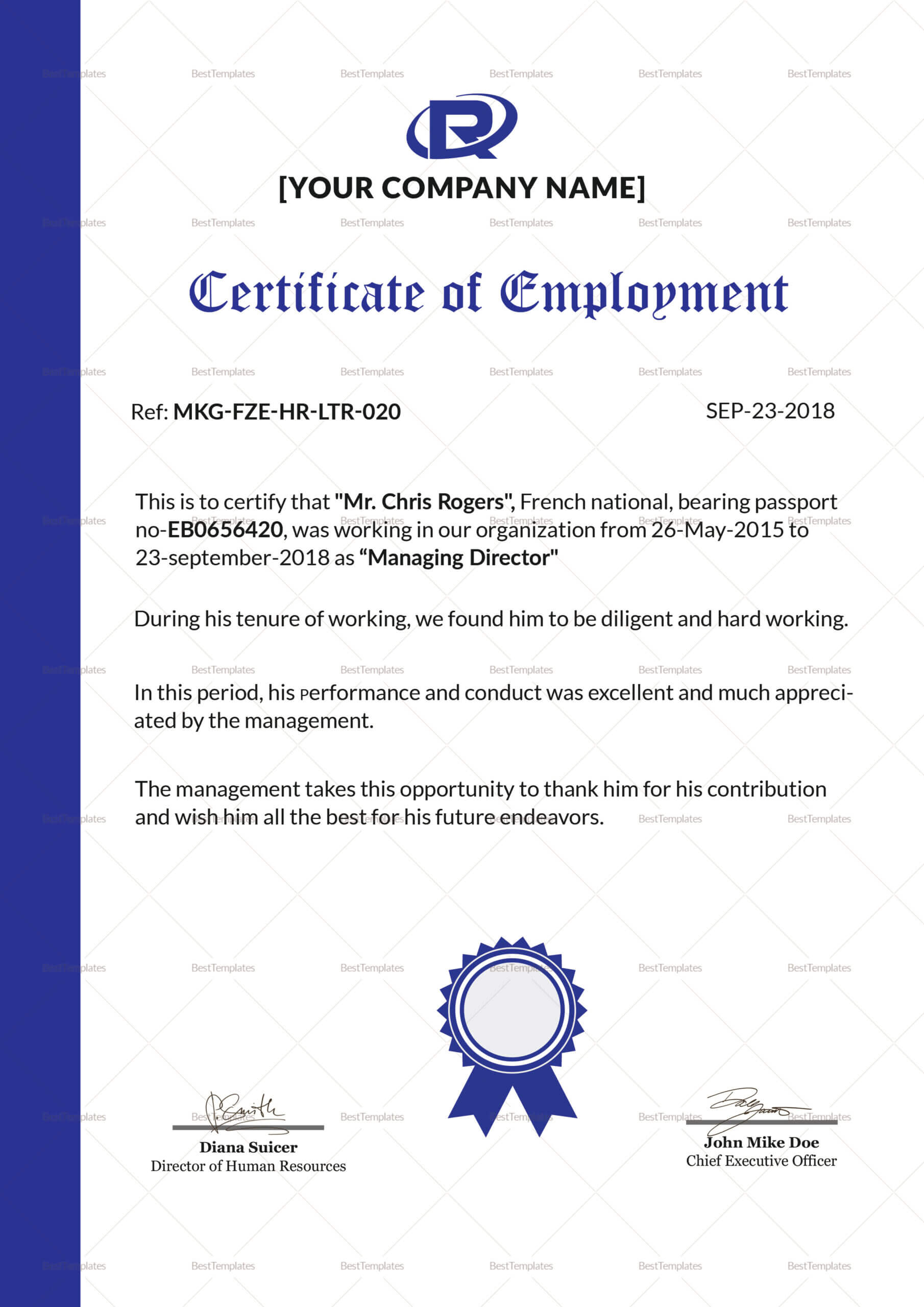 006 Certificate Of Employment Template Sample Impressive Inside Sample Certificate Employment Template