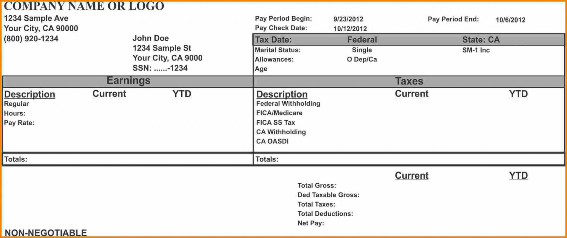 006 Free Pay Stub Template Word Unbelievable Ideas Microsoft With Blank Pay Stub Template Word