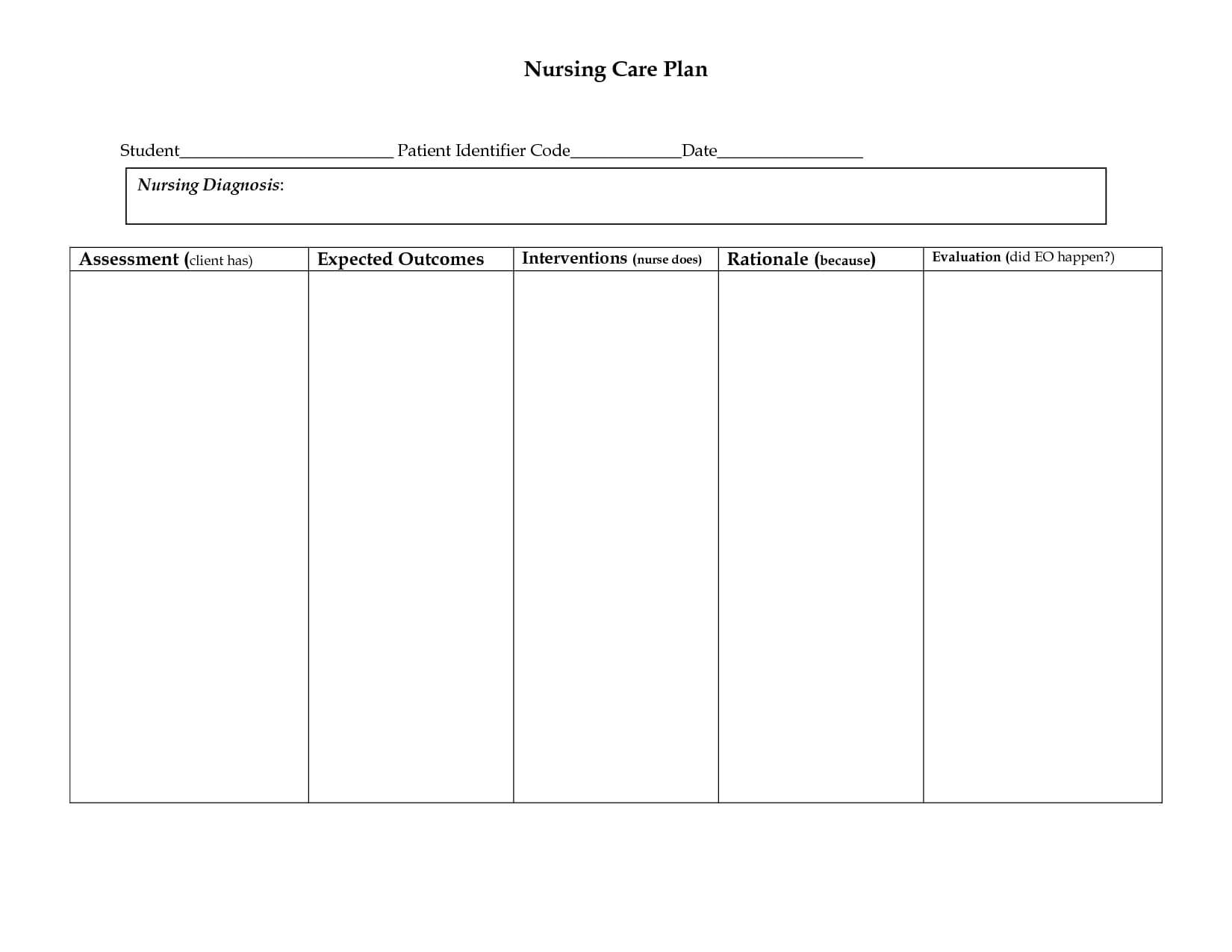 006 Nursing Care Plan Template Ideas Free Templates Business Throughout Nursing Care Plan Template Word