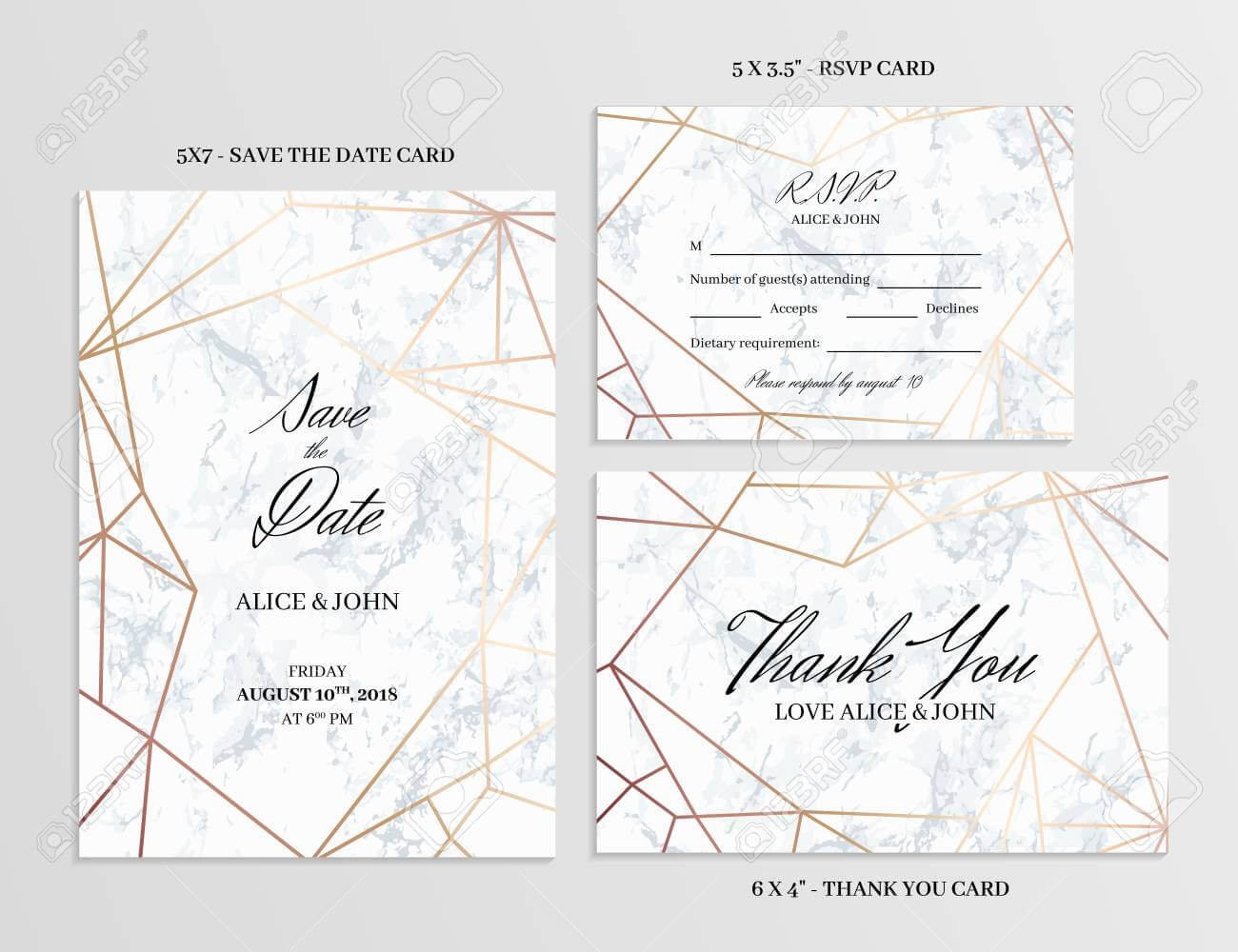 006 Wedding Set Save The Date Thank You And R S V P Cards For Template For Rsvp Cards For Wedding