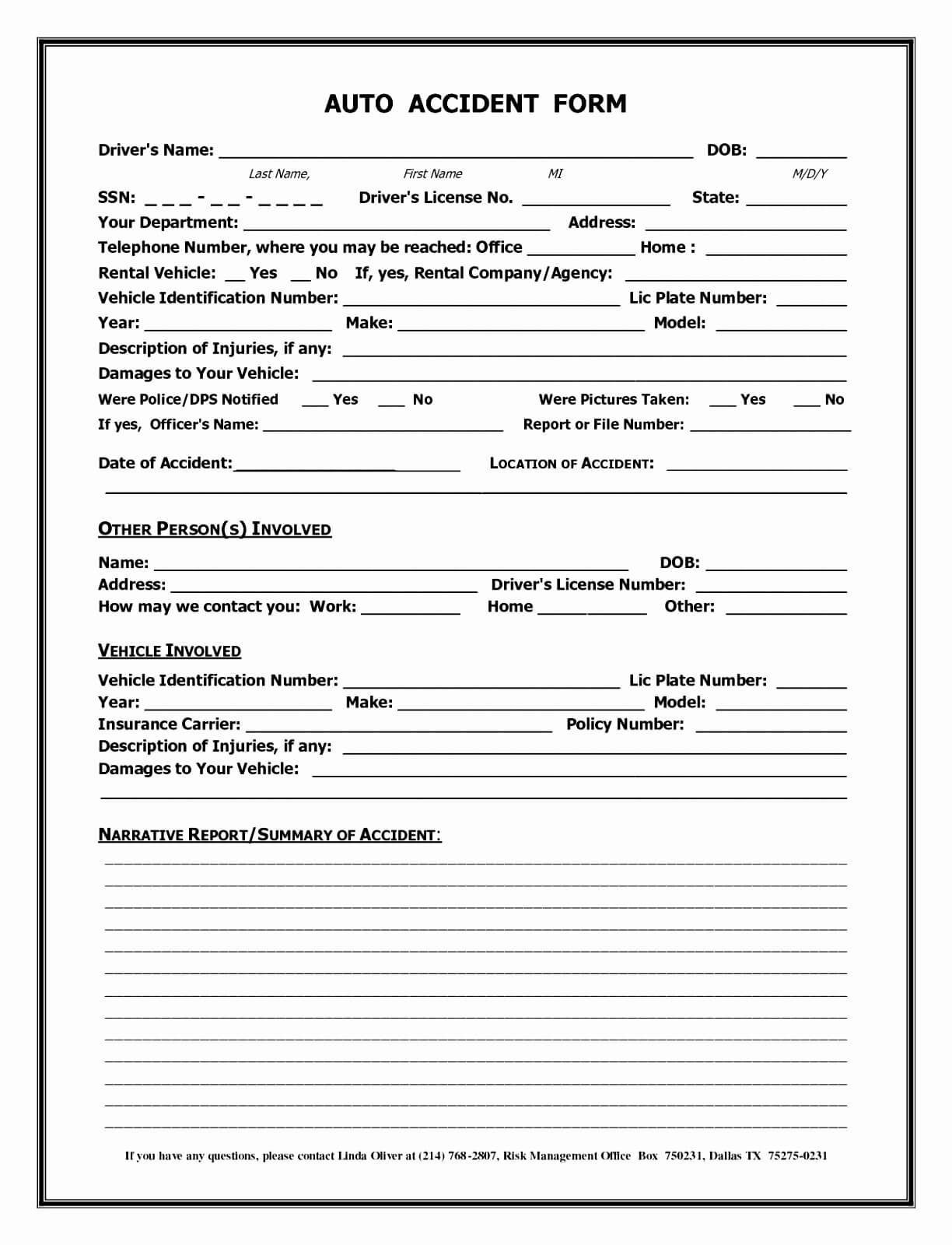 007 Accident Report Forms Template Auto Form California With Accident Report Form Template Uk