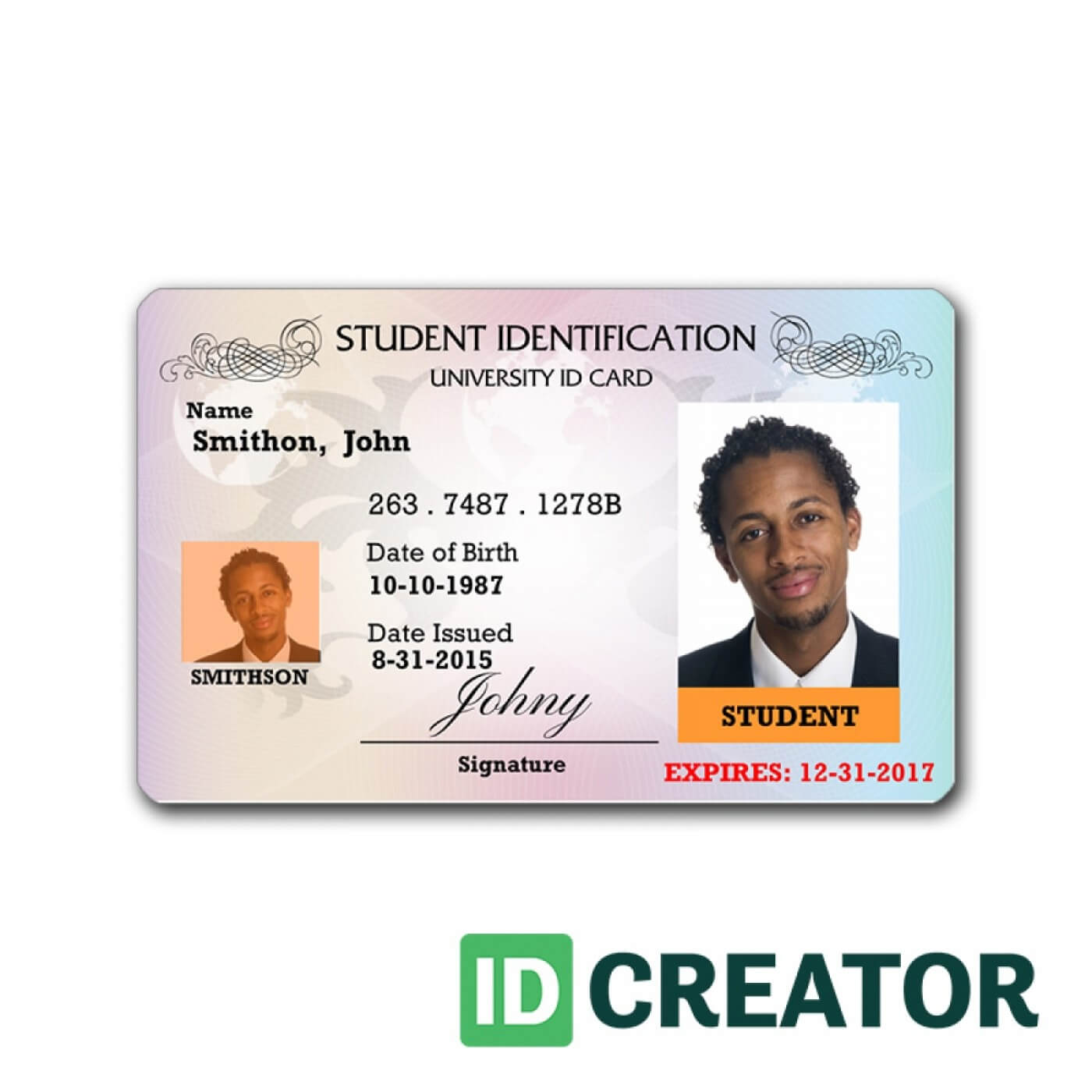 007 University Student Identity Card Psd Id Template Throughout Sample Of Id Card Template