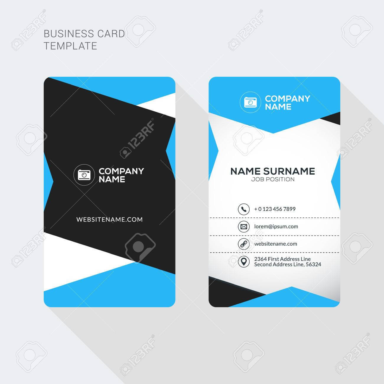 008 Modern Creative And Clean Two Sided Business Card For 2 Sided Business Card Template Word