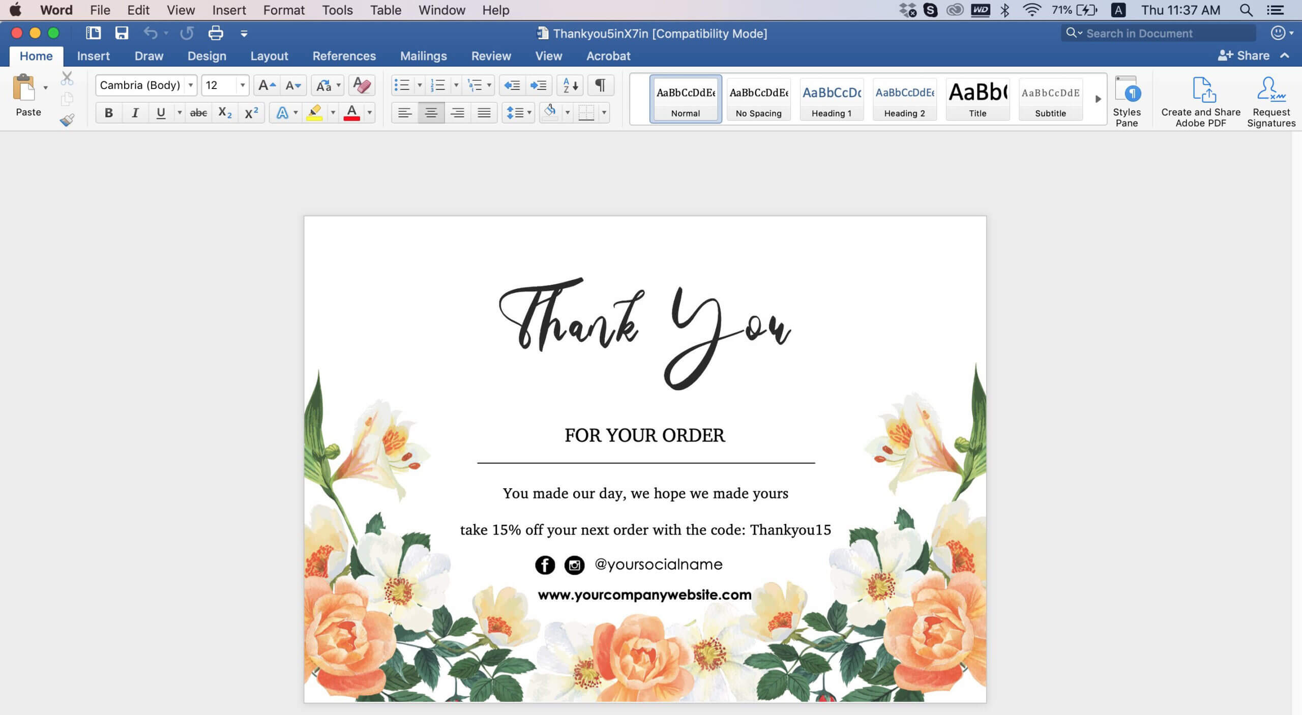 009 Editable Thank You Post Card Template Word Top Ideas Doc For Thank You Card Template Word