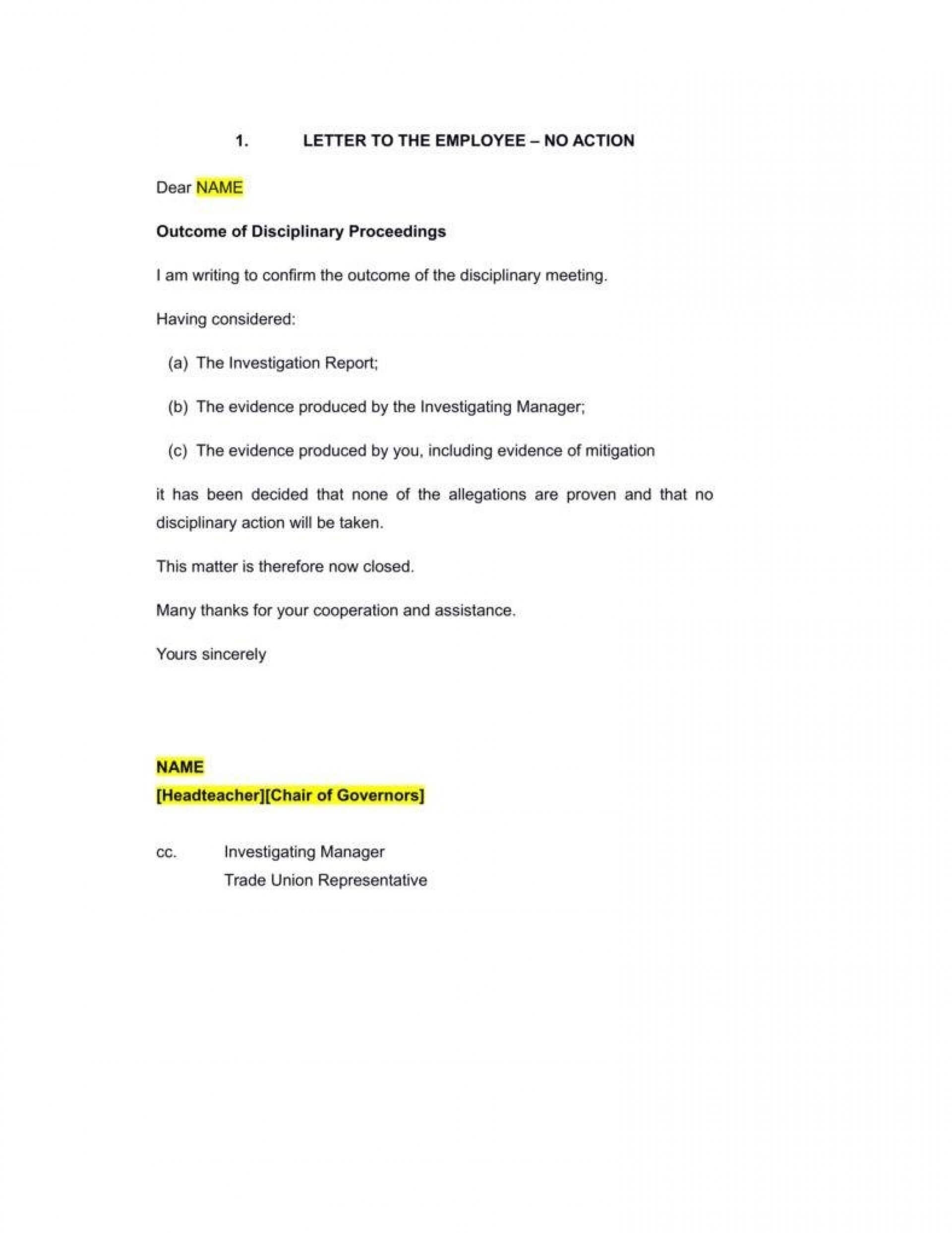 009 Employee Disciplinary Action Template Ideas Write Up With Investigation Report Template Disciplinary Hearing