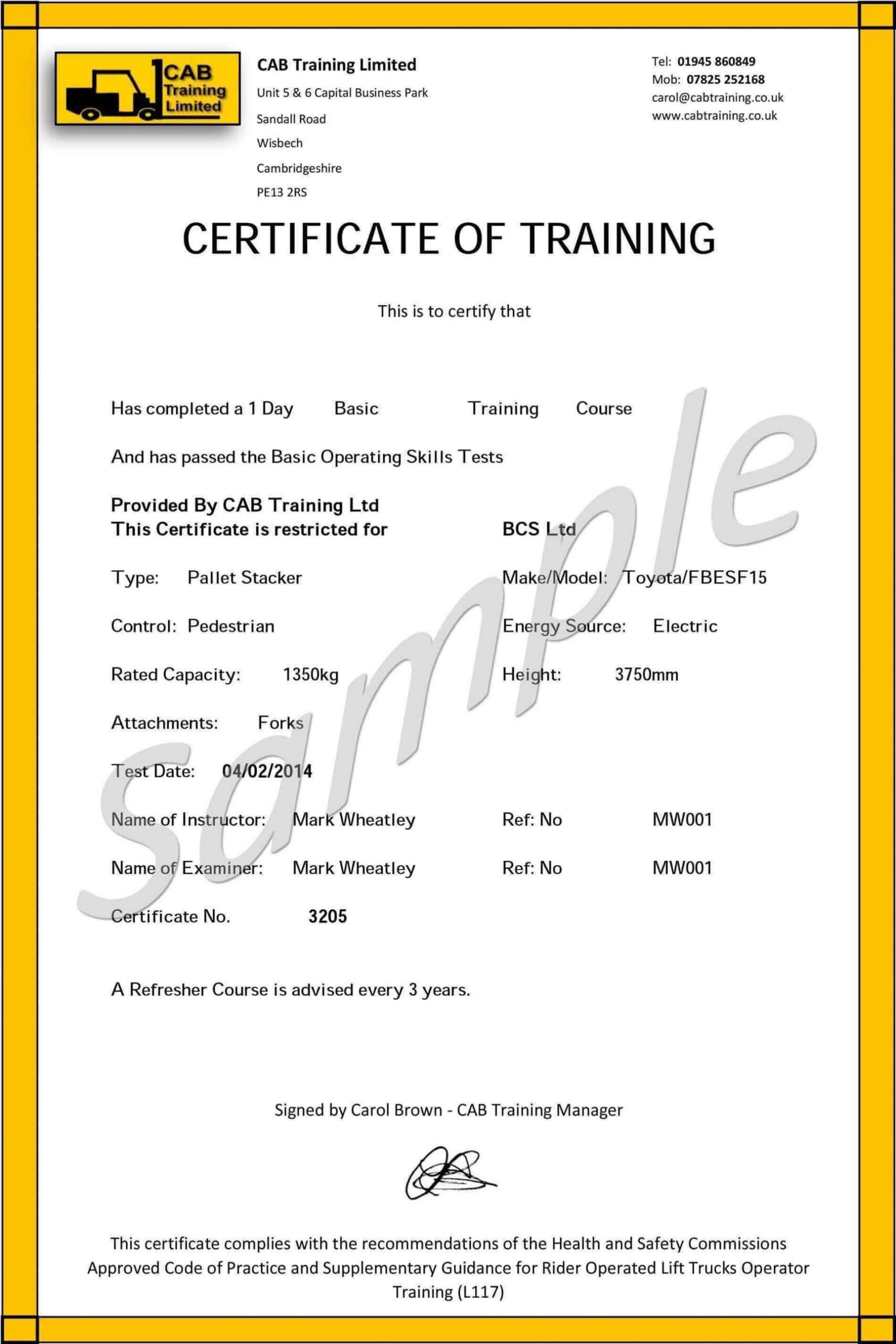 009 Forklift Certification Card Template Free Original In Forklift Certification Card Template