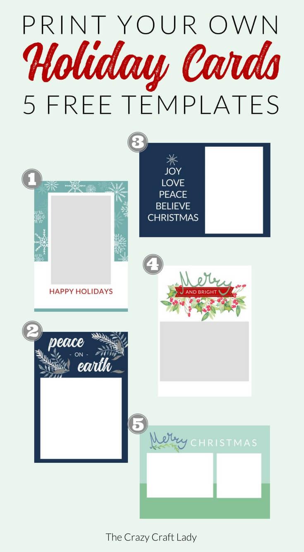 009 Free Printable Holiday Photo Card Templates Template With Free Templates For Cards Print