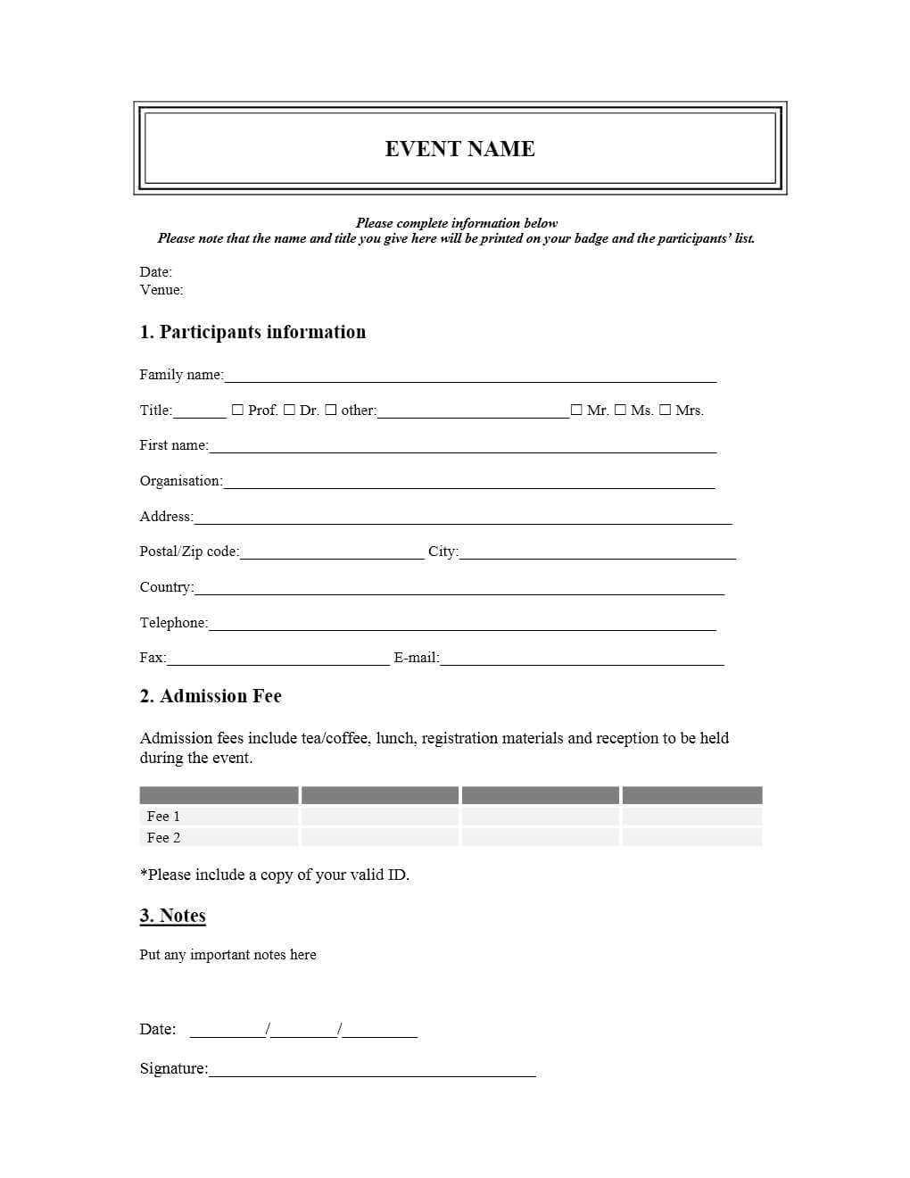 009 Template Ideas Business Seminar Participation Intended For Seminar Registration Form Template Word