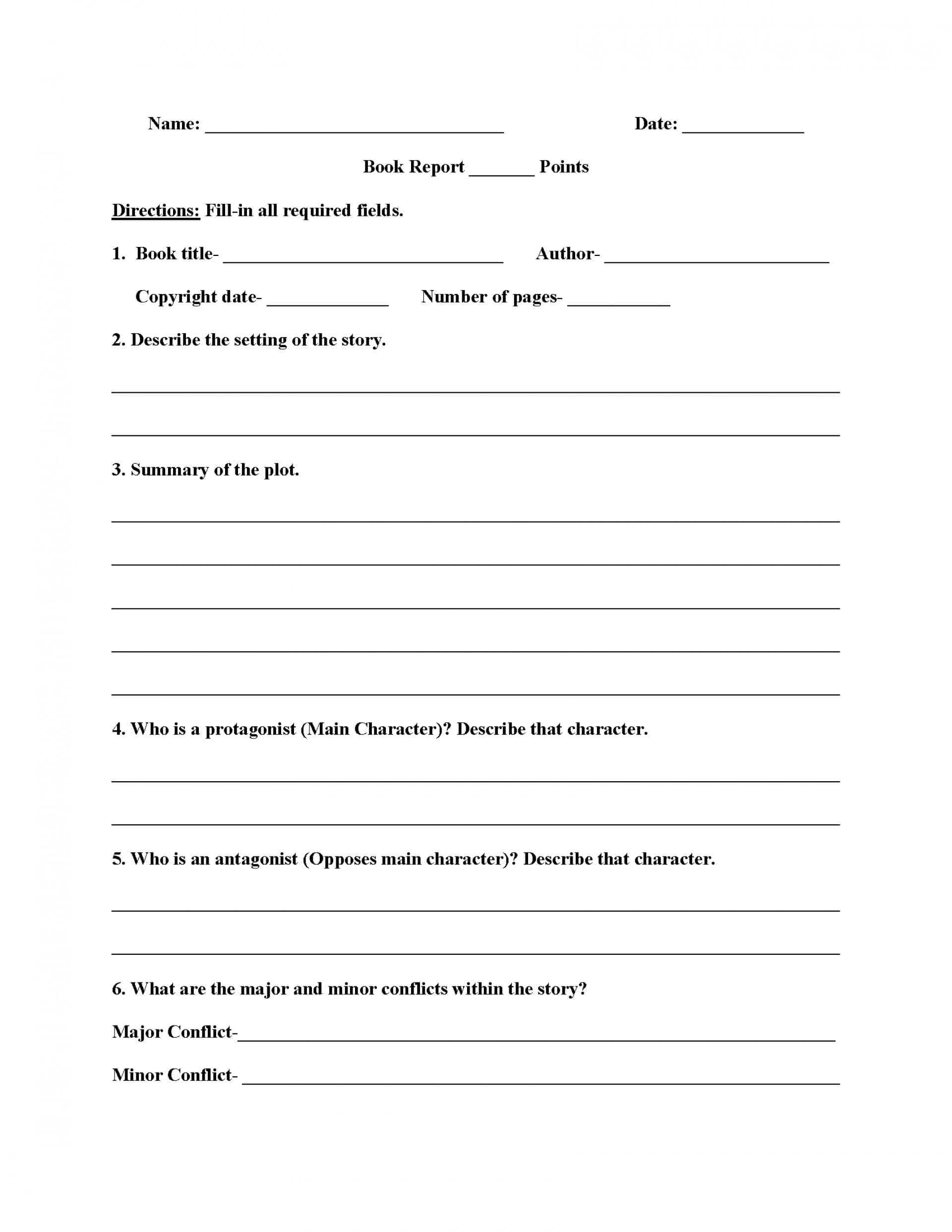 010 6Th Grade Book Report Template Ideas 3Rd Pdf Best Of Pertaining To Story Report Template