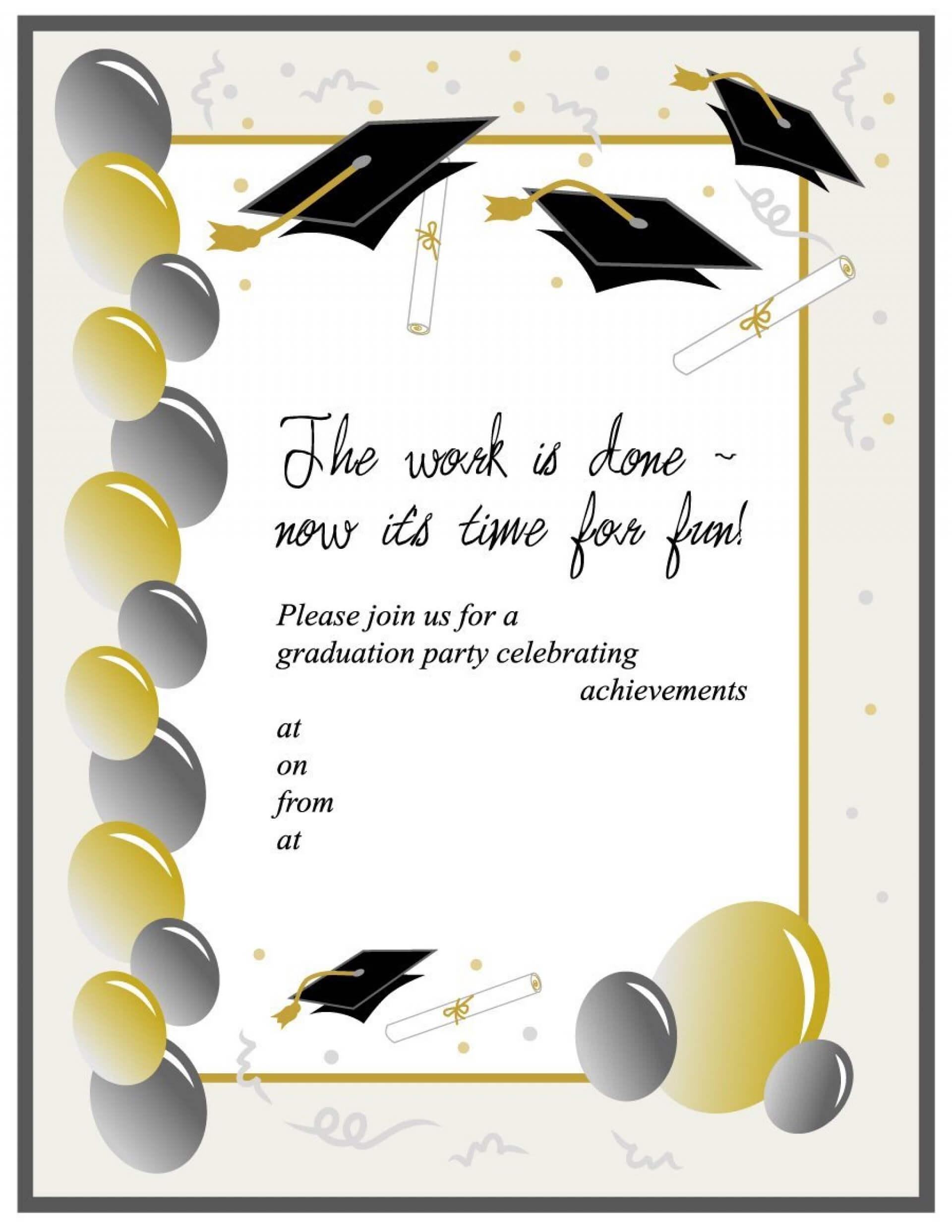 012 Graduation Invitation Templates Template Ideas Party Pertaining To Graduation Party Invitation Templates Free Word