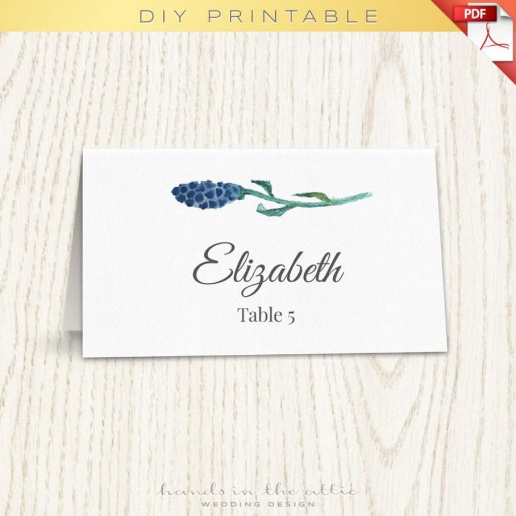 012 Wedding Name Card Template Floral Placecard Printable For Printable Escort Cards Template