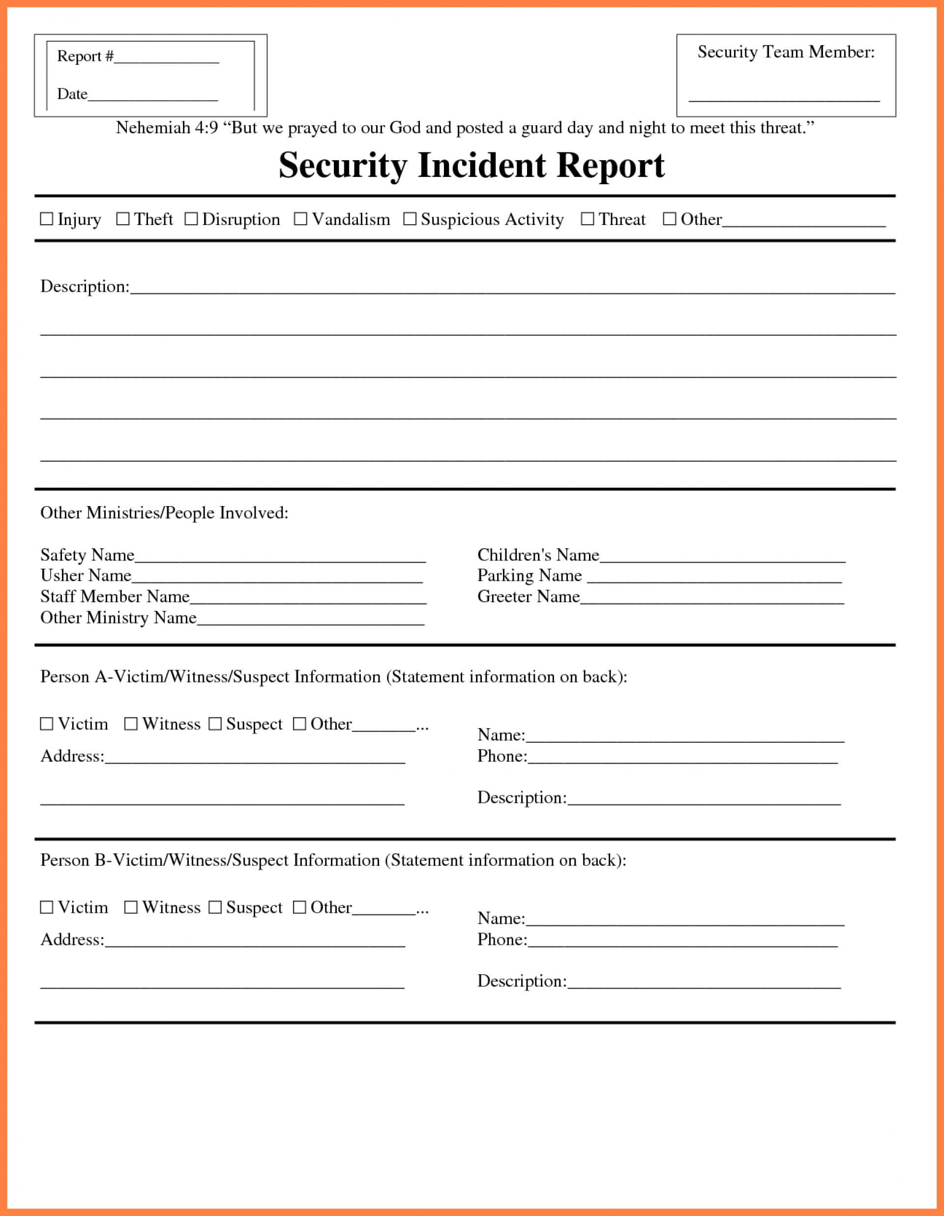013 Incident Report Form Word Format Template Ideas Pertaining To Template For Information Report