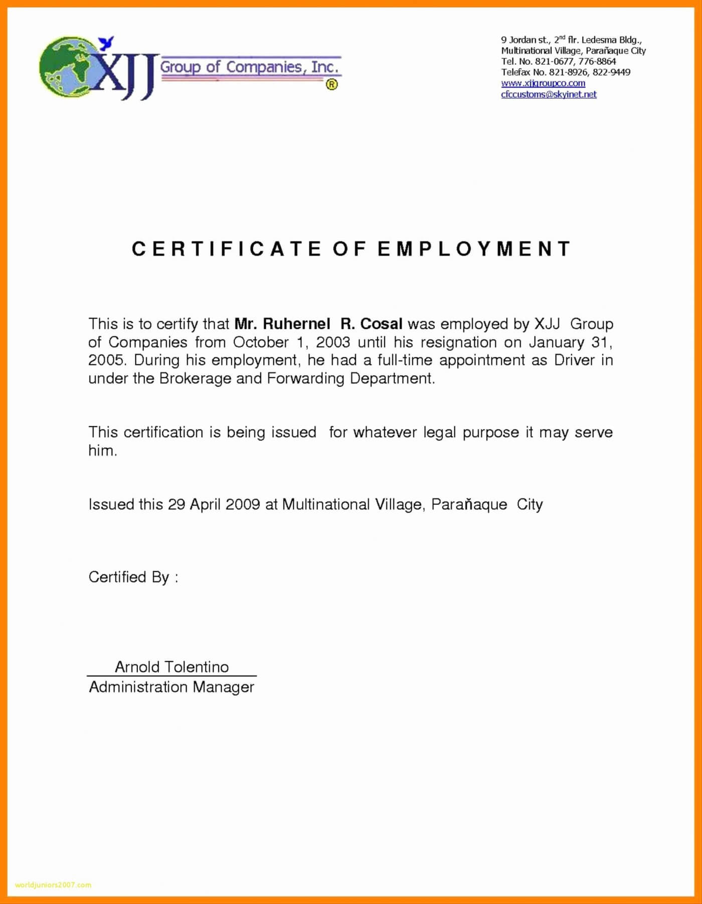 014 Sample Certificate Employment With Salary Indicated Best For Sample Certificate Employment Template