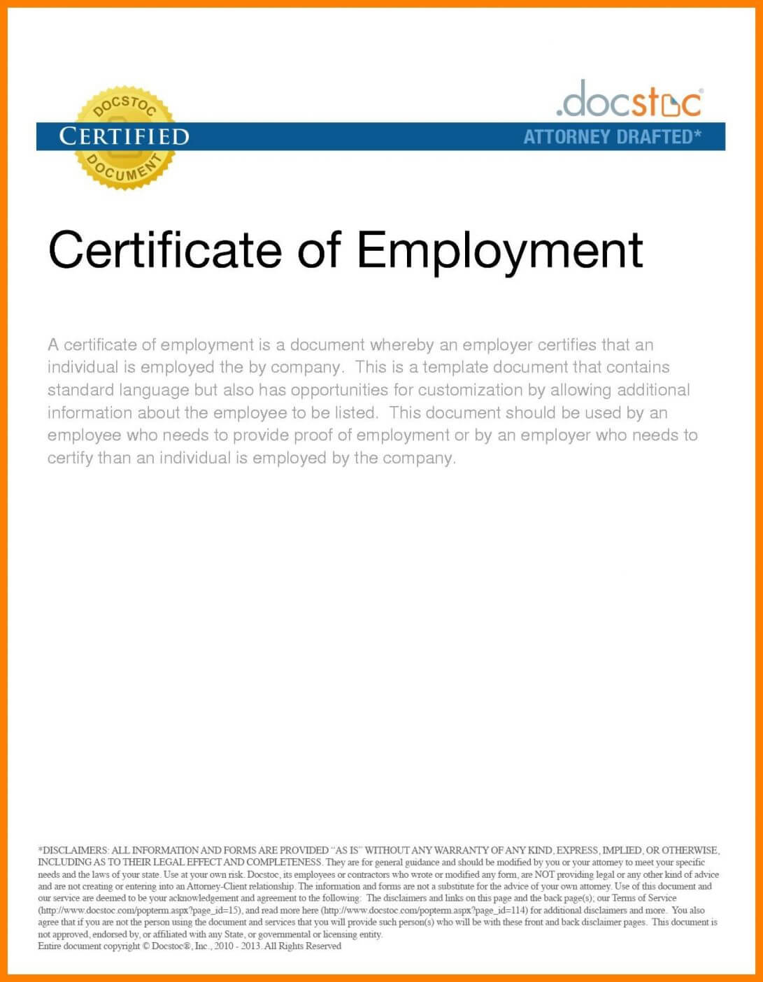 016 Sample Certificate Of Employment Certificates Stunning Intended For Employee Certificate Of Service Template