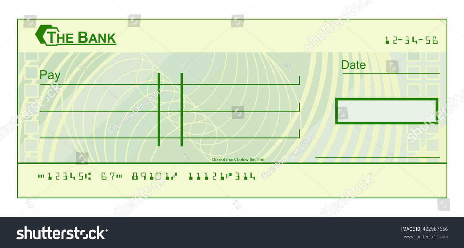 017 Stock Photo Blank Cheque Check Template Illustration Pdf Pertaining To Blank Cheque Template Uk