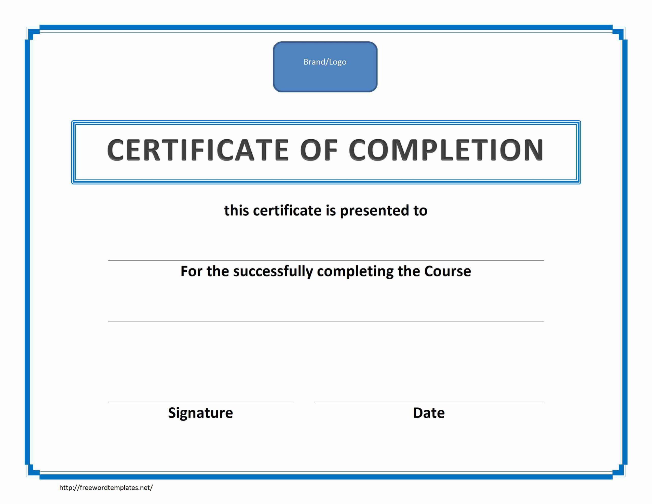 017 Template Ideas Training Certificate Of Completion For Training Certificate Template Word Format
