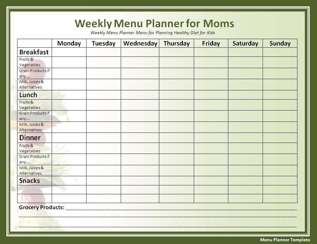 018 Template Ideas Free Menu Planner Templates For Word Meal Within Meal Plan Template Word