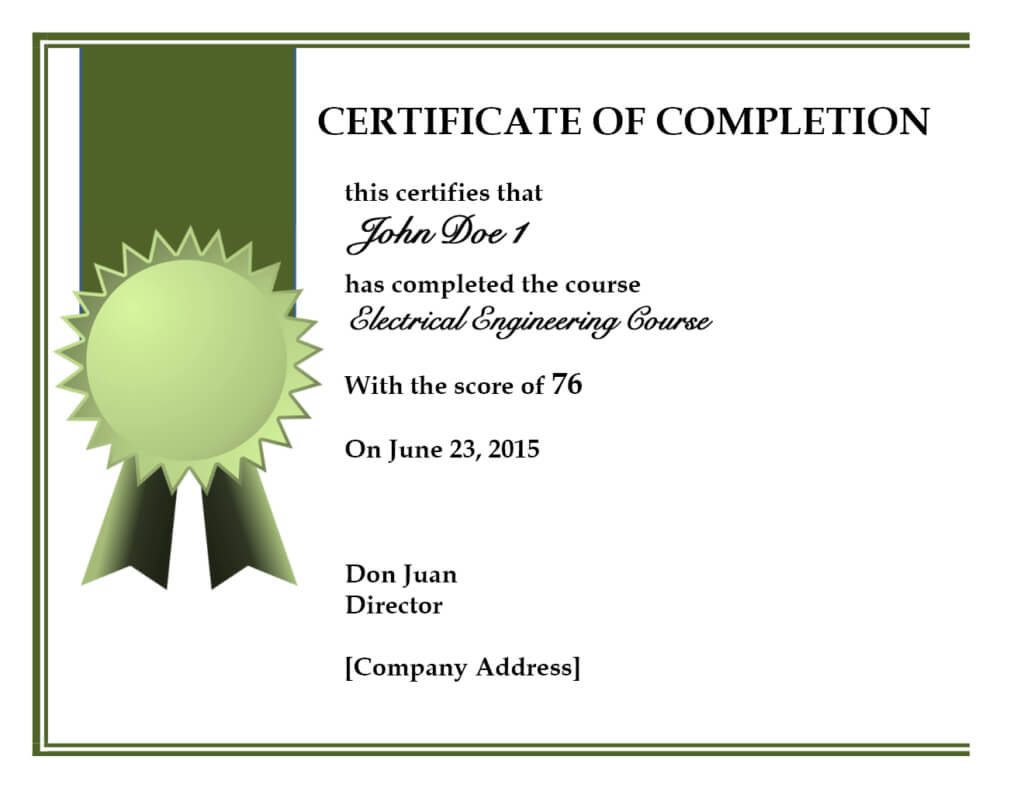 019 Certificate Of Completion Template Free Psd Best Within Army Certificate Of Completion Template