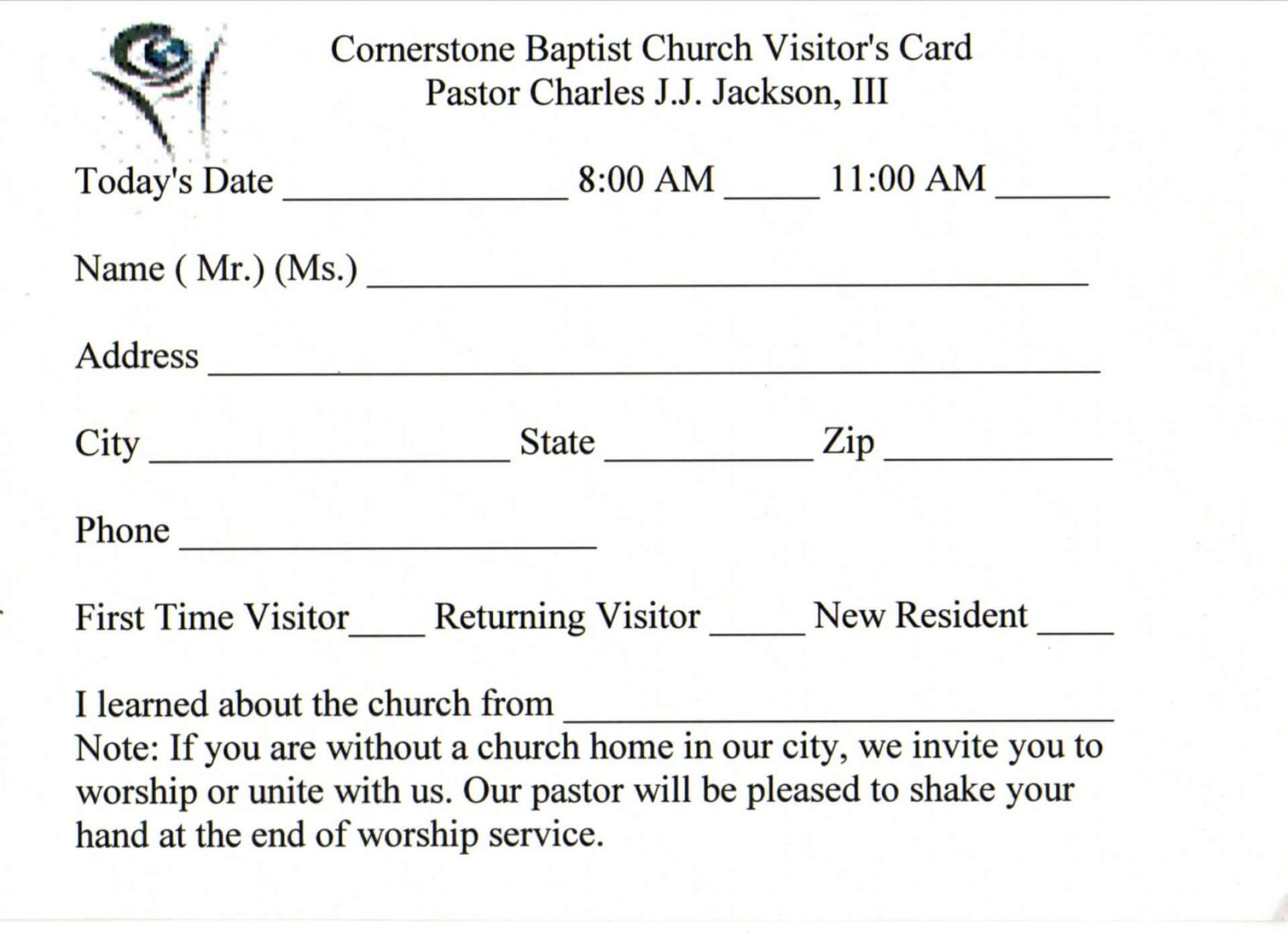 019 Template Ideas Church Visitor Card Word Impressive With Church Visitor Card Template Word