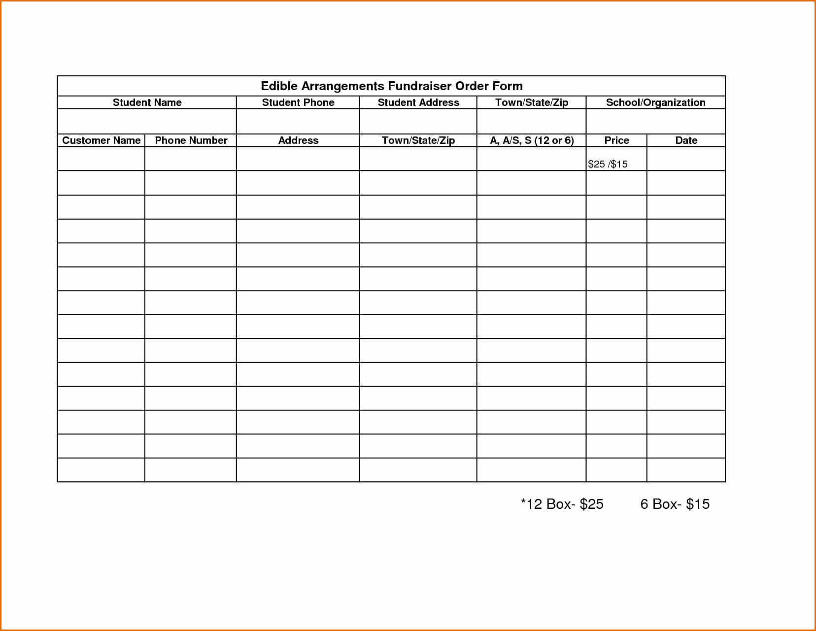 020 Fundraisings Templates Free Sample Business Loan In Blank Fundraiser Order Form Template