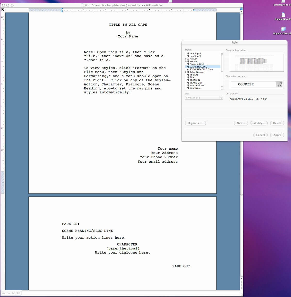 020 Microsoft Word Screenplay Template Ideas Format Within Microsoft Word Screenplay Template