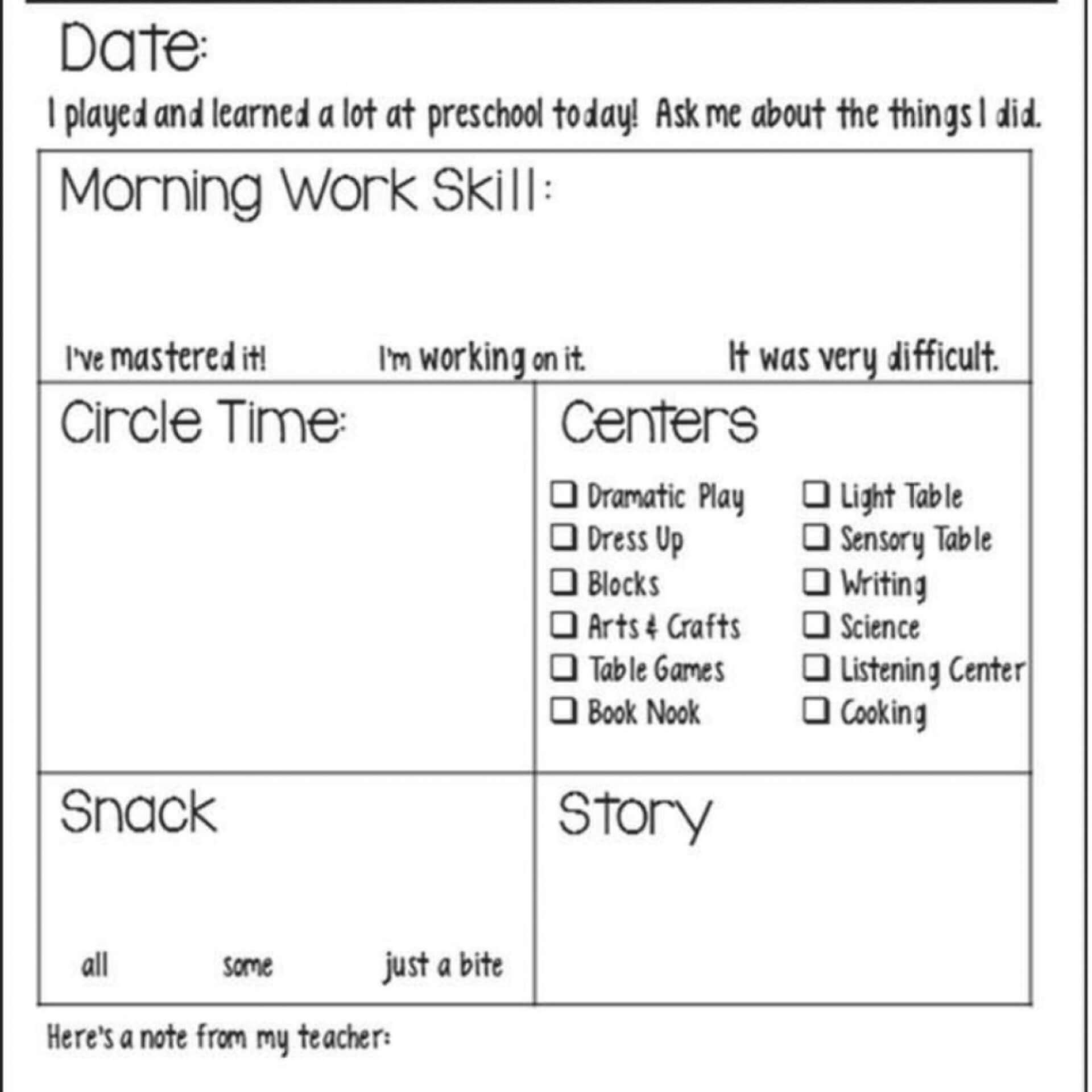 020 Preschool Daily Report Template Phenomenal Ideas Sheets Pertaining To Daycare Infant Daily Report Template