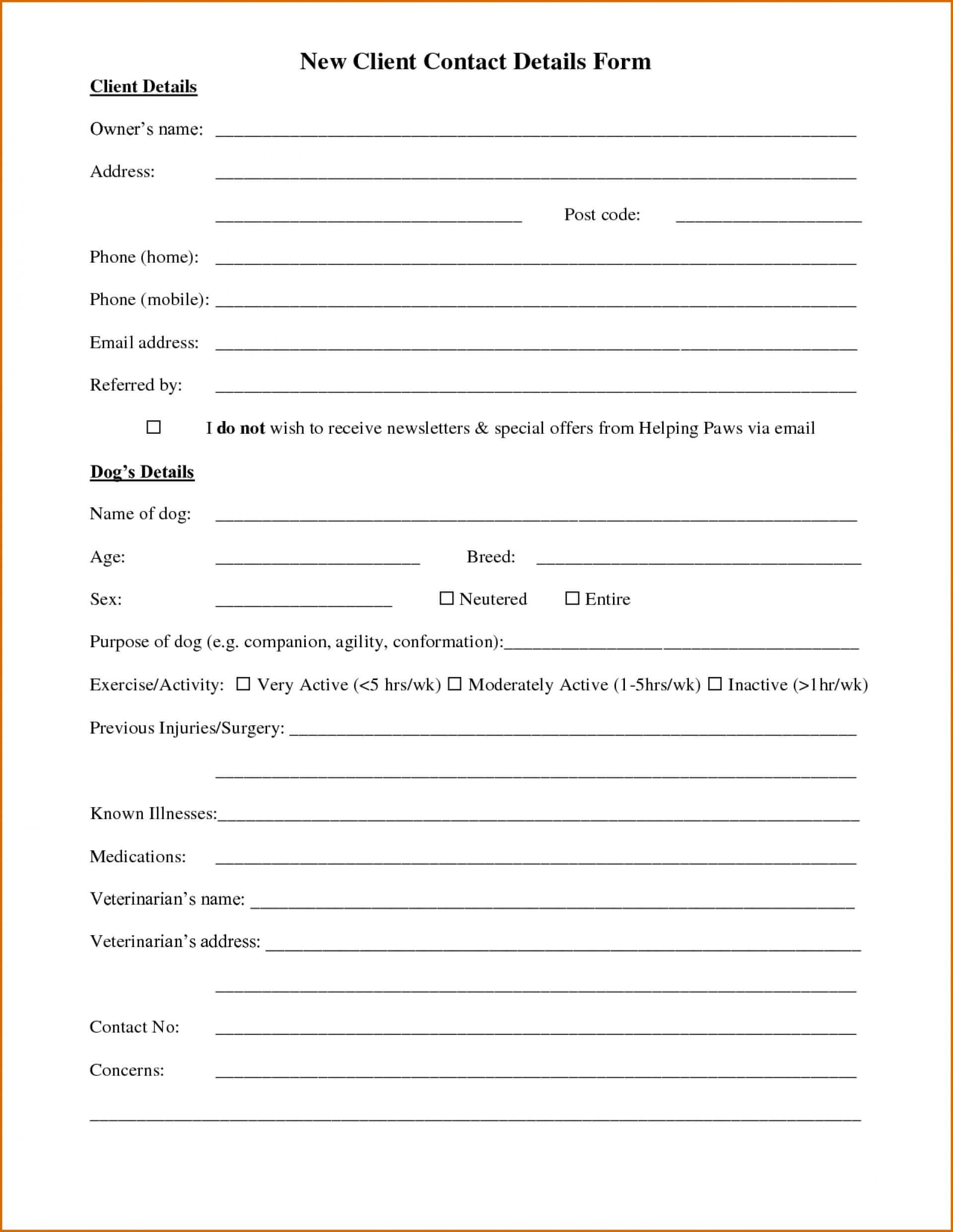 021 Customer Information Sheet Template Templates Picture Throughout Customer Information Card Template