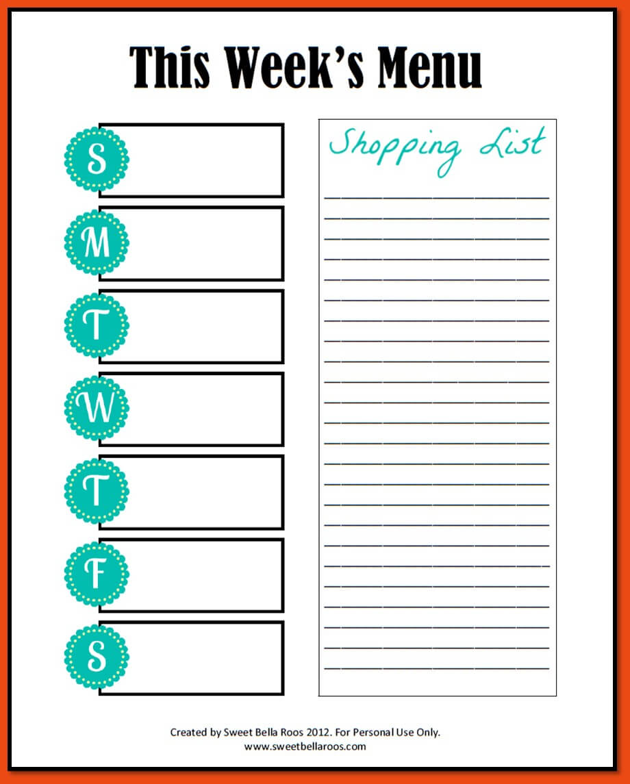 021 Free Weekly Meal Planner Template With Grocery List Pdf Within Weekly Meal Planner Template Word