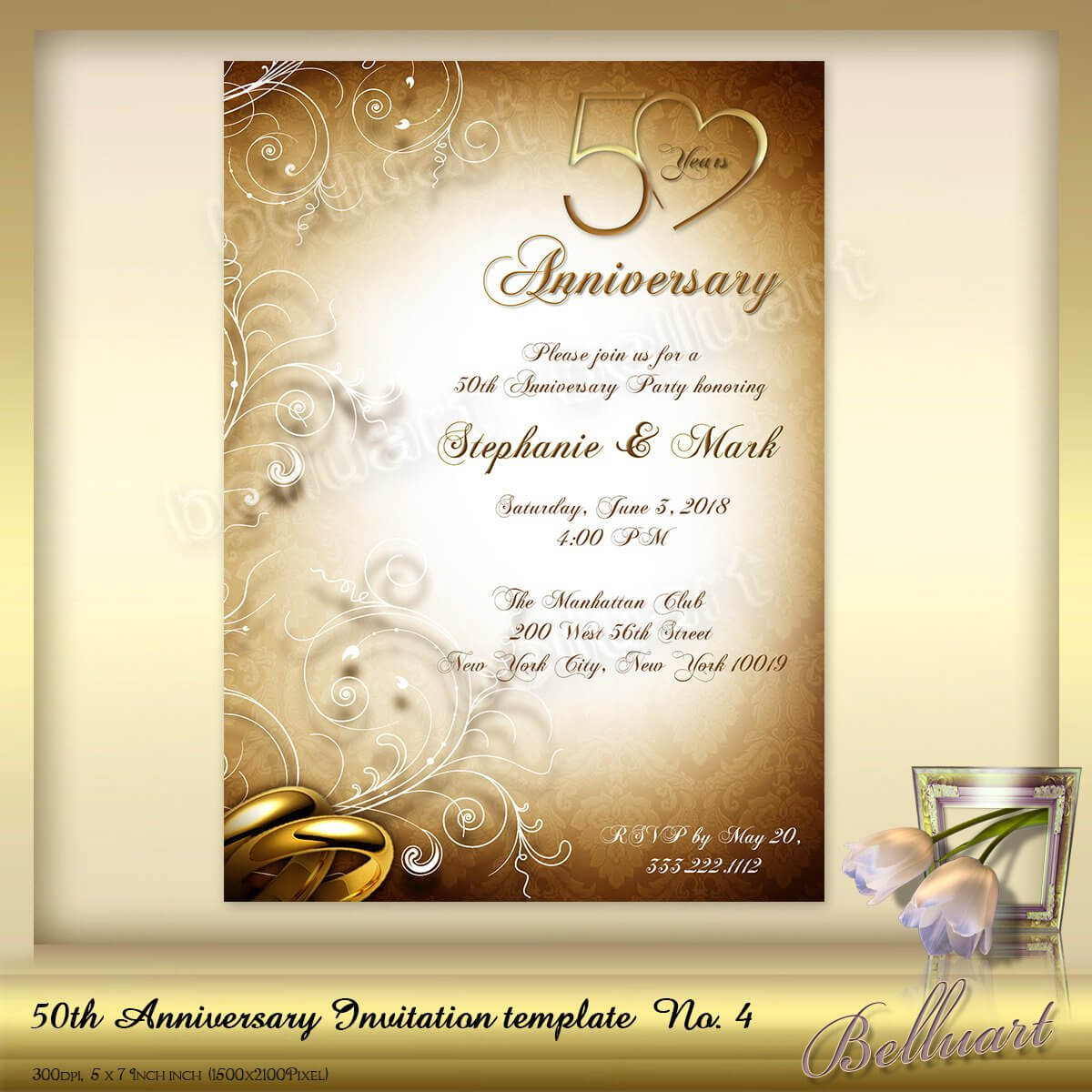 021 Template Ideas 50Th Wedding Anniversary Invitations Regarding Word Anniversary Card Template