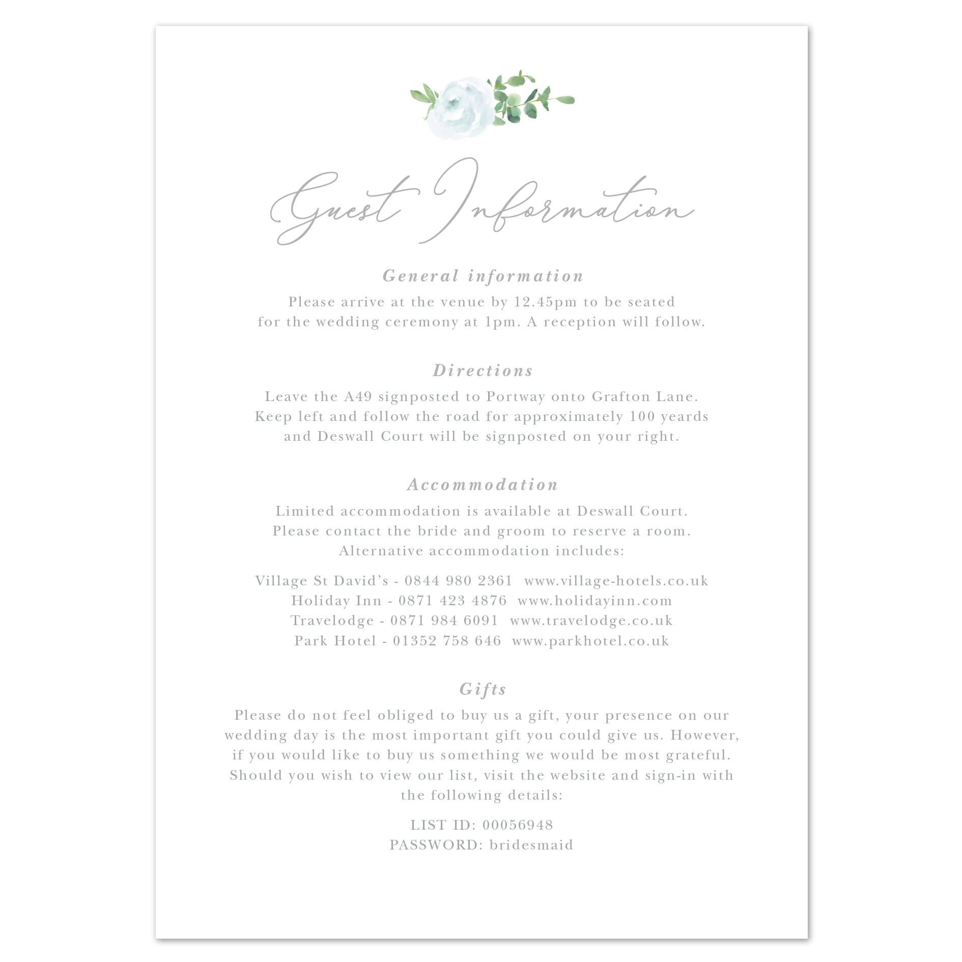 022 Wedding Registry Card Template Ideas Information Cards Within Wedding Hotel Information Card Template