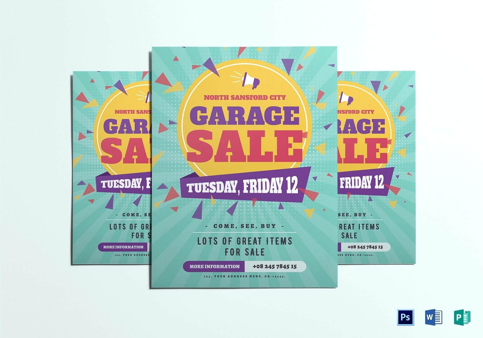 023 Large Garage Sale Flyer Template Free Microsoft Word Intended For Garage Sale Flyer Template Word
