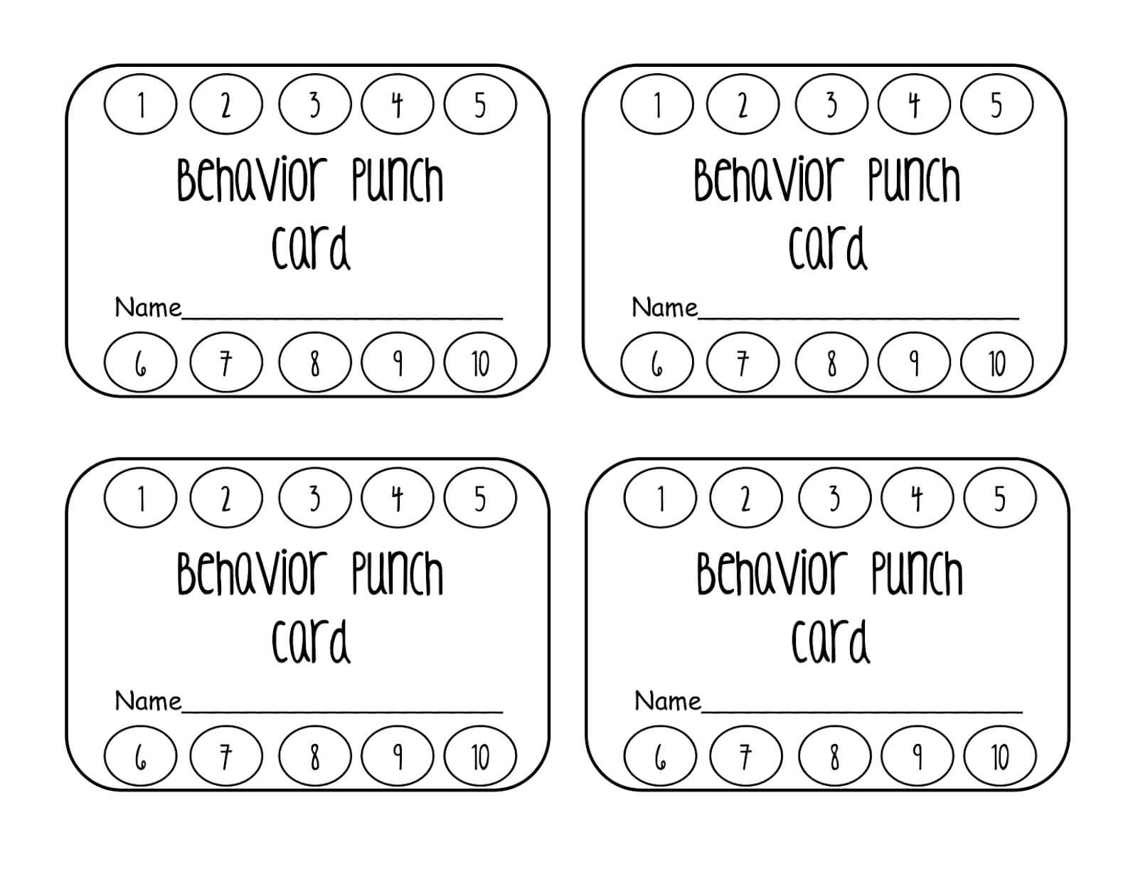 023 Template Ideas Behavior Punch Cards Pinterest Card For Free Printable Punch Card Template