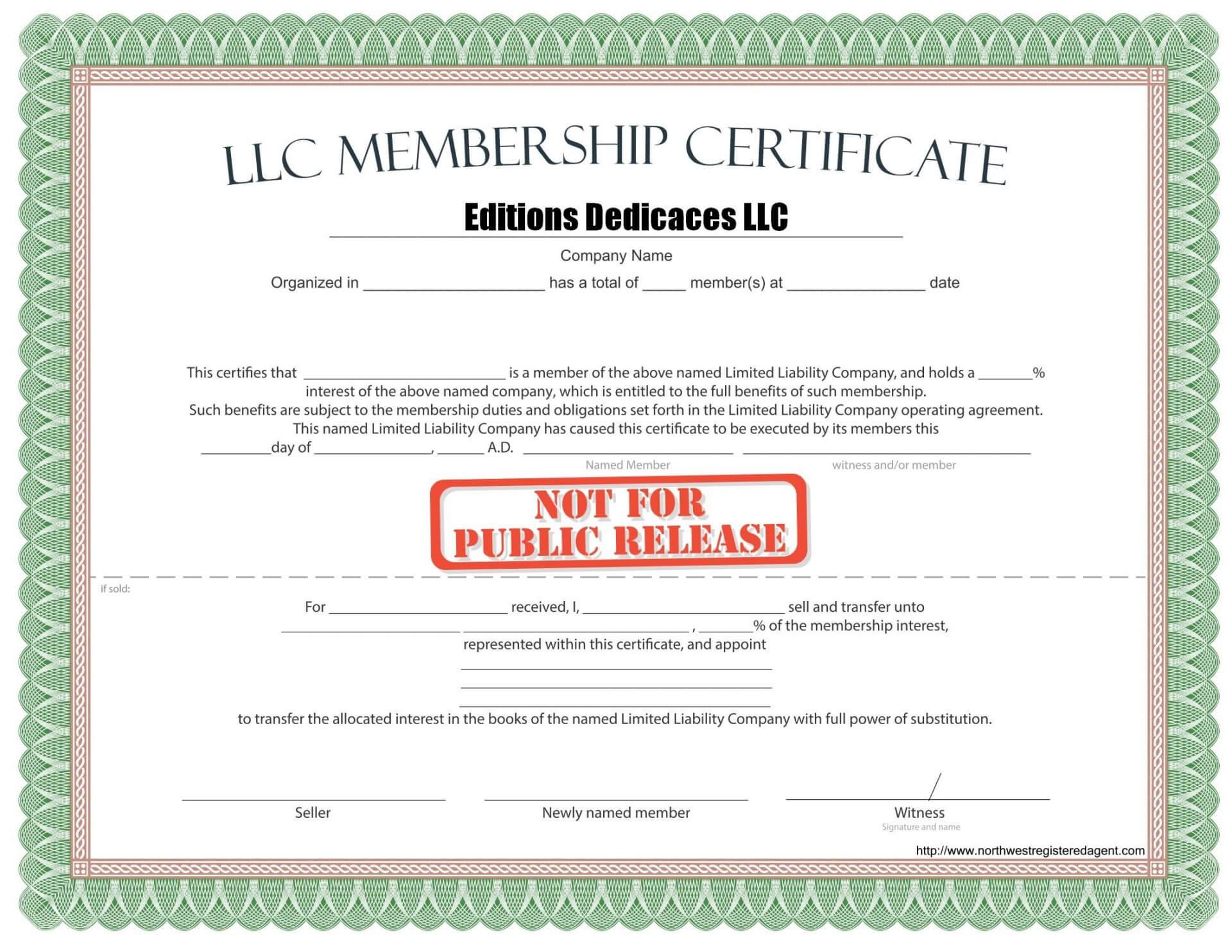 024 Image1 Llc Membership Certificate Template Incredible Pertaining To New Member Certificate Template