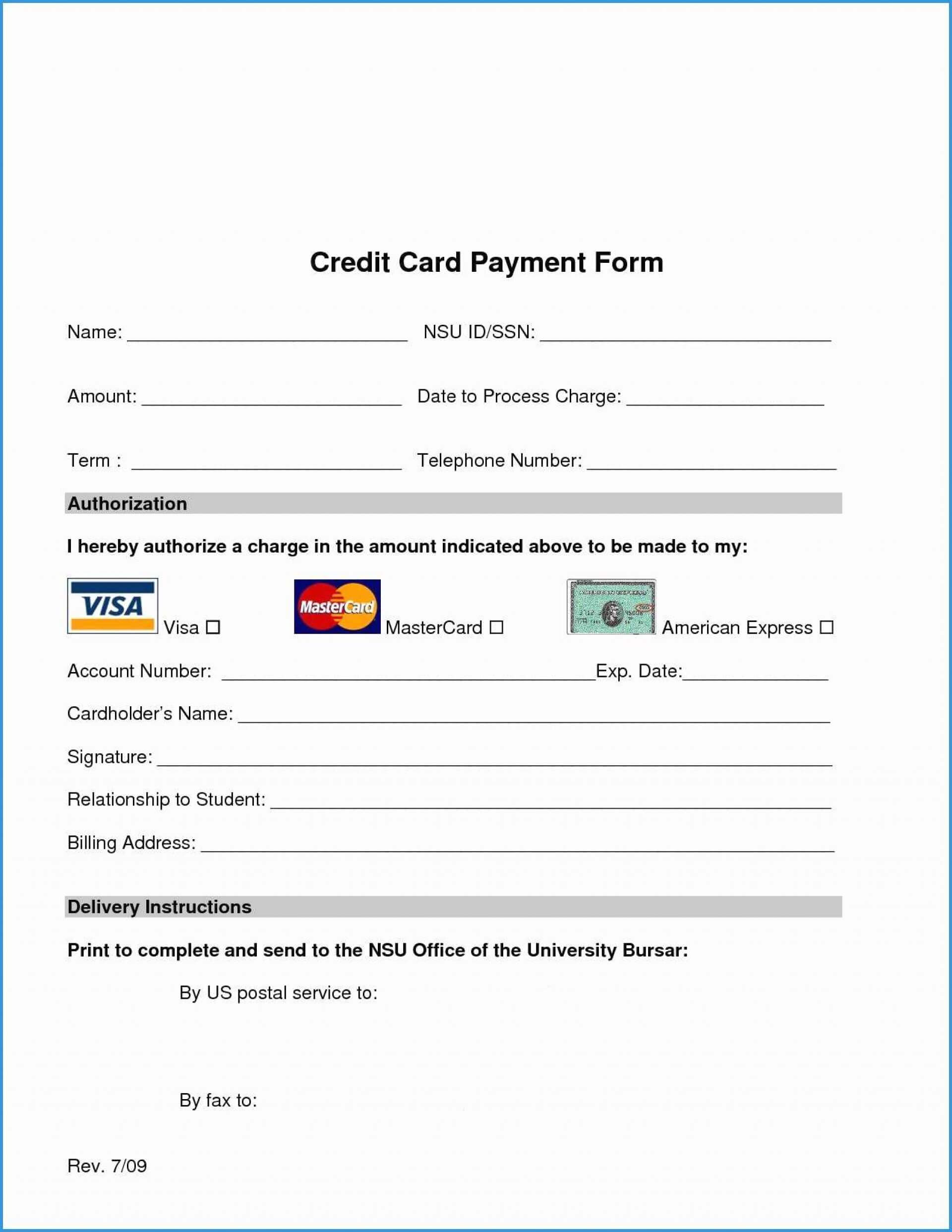026 Template Ideas Credit Card Authorization Form Word Free Throughout Credit Card Size Template For Word