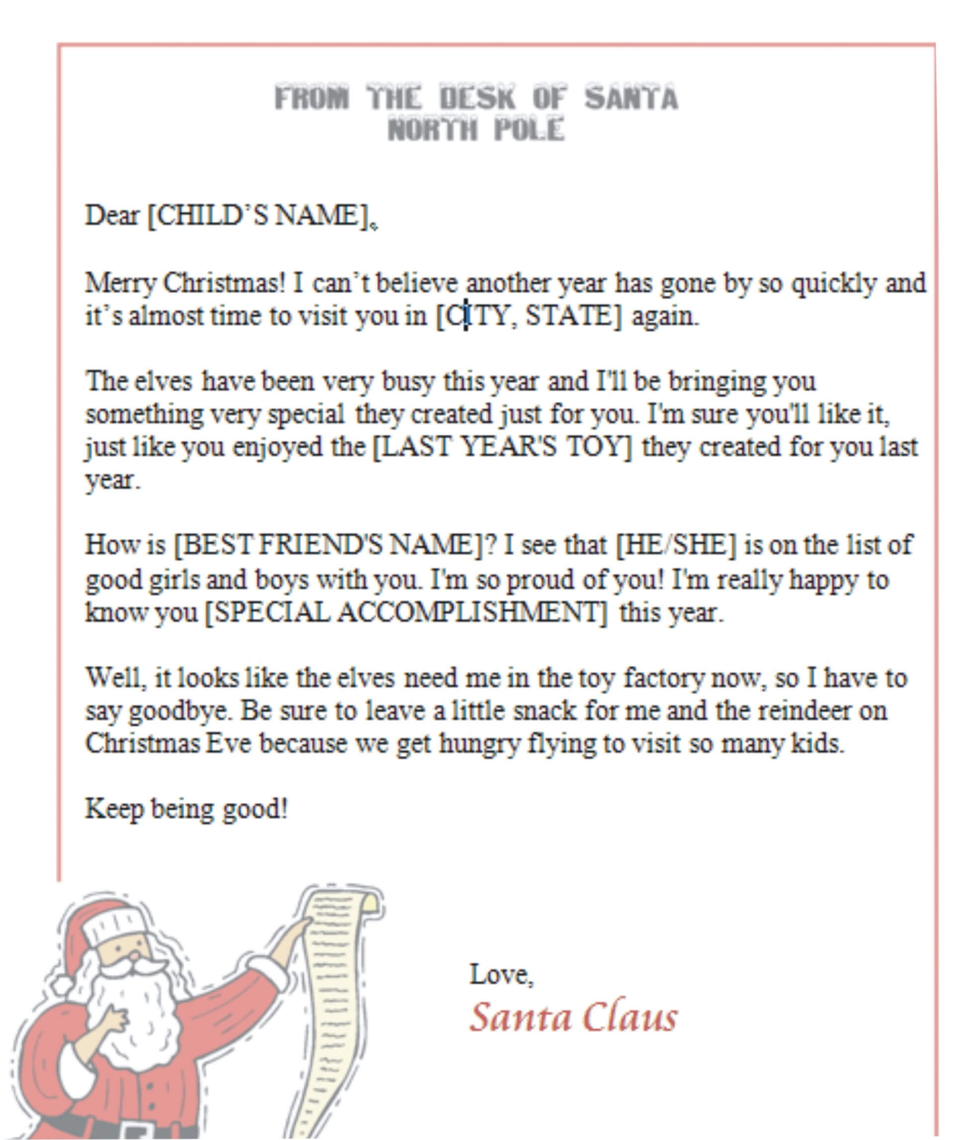 032 Letter From Santa Template Word Document Fresh Free Regarding Santa Letter Template Word