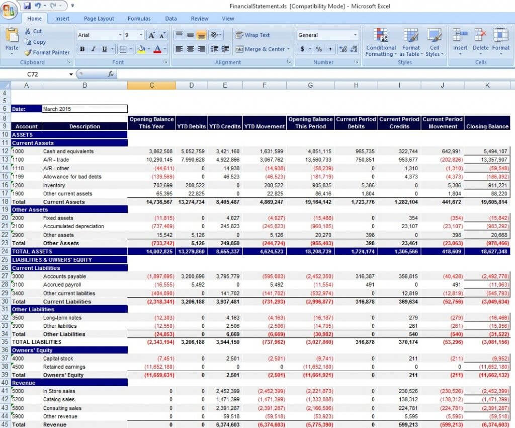 033 Financial Statement Templates Excel Income Template Within Excel Financial Report Templates