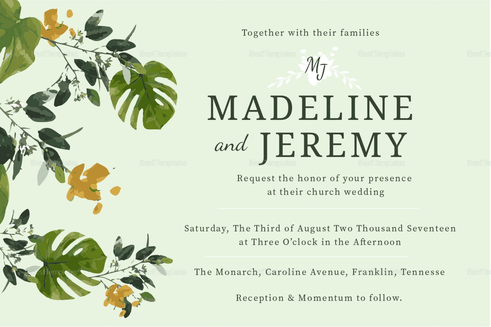 035 Vintage Baroque Style Wedding Invitation Card Template Regarding Church Wedding Invitation Card Template