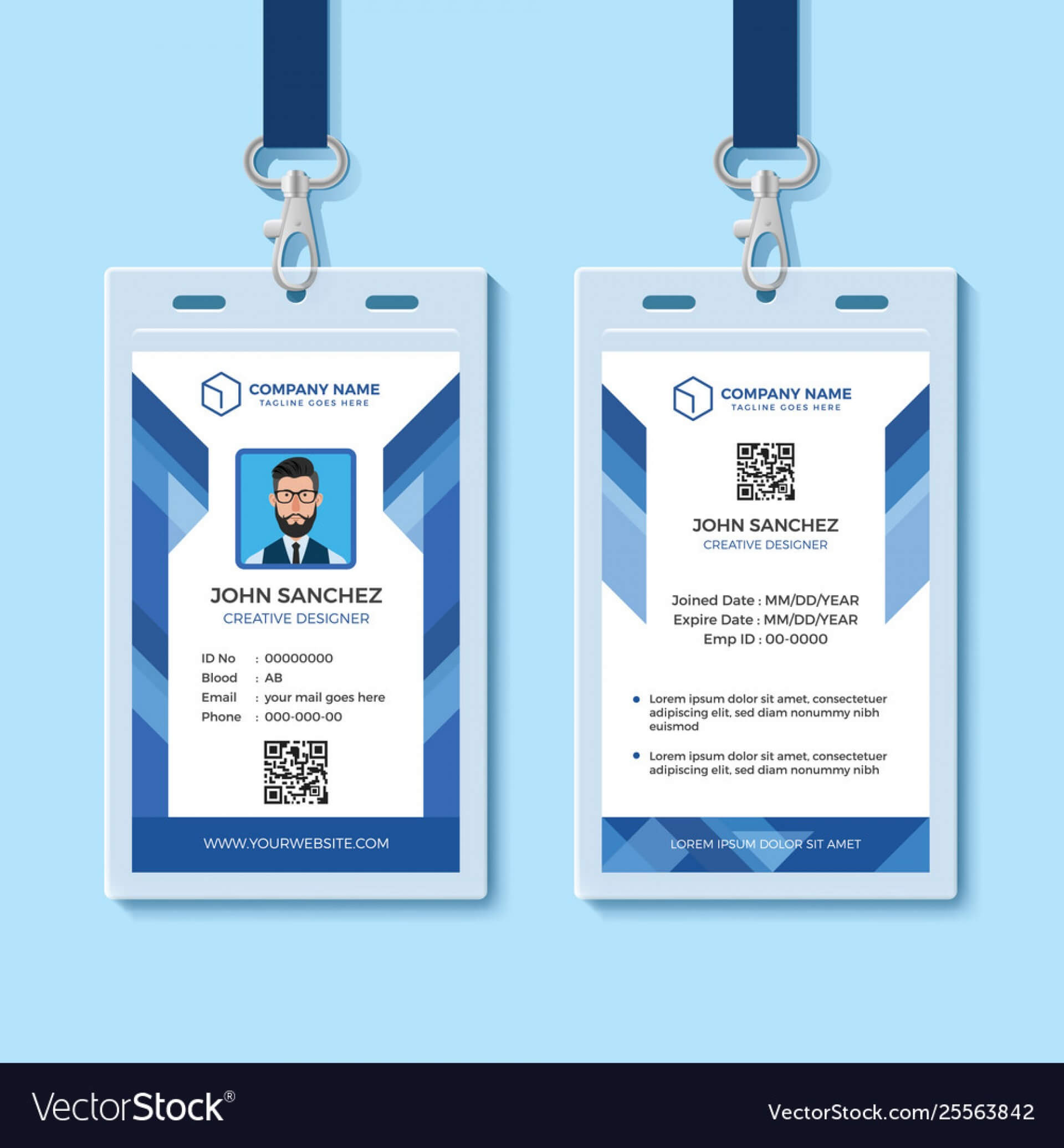042 Template Ideas Employee Id Card Templates Blue Design With Regard To Id Card Template For Microsoft Word