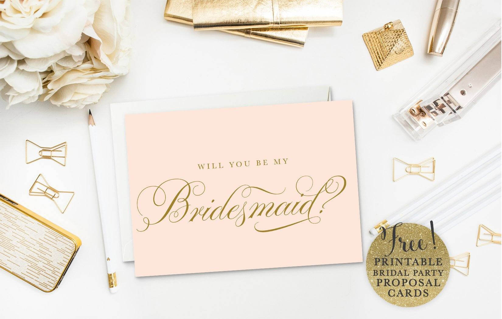 10 Will You Be My Bridesmaid? Cards (Free & Printable) For Will You Be My Bridesmaid Card Template