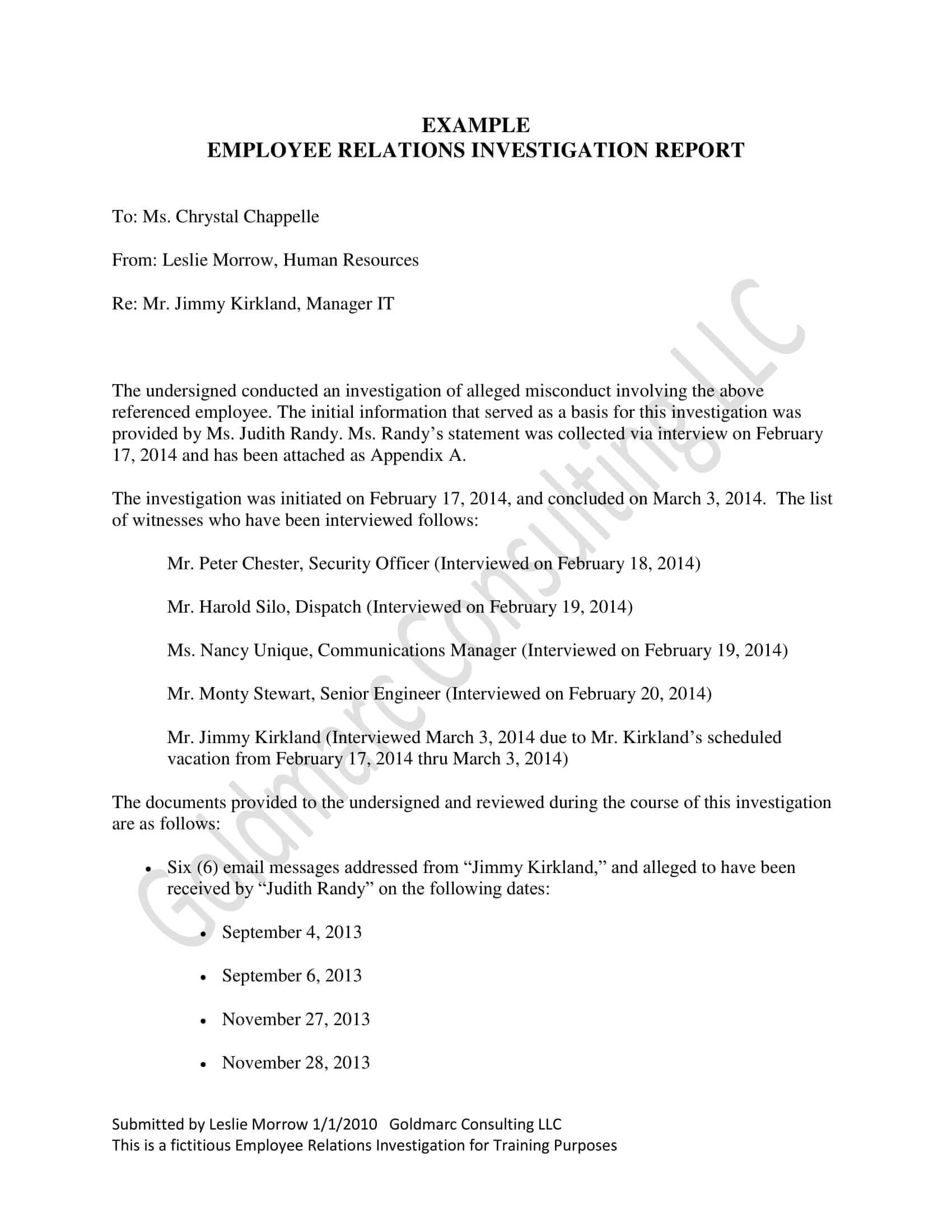 10+ Workplace Investigation Report Examples – Pdf | Examples Regarding Hr Investigation Report Template