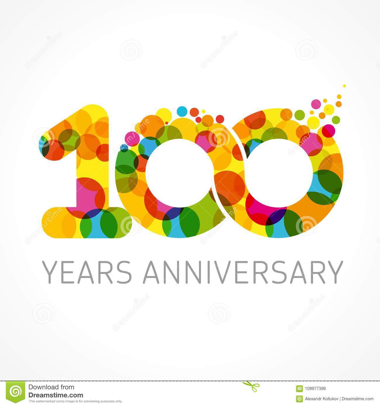 100 Years Old Anniversary Card Stock Vector – Illustration With Template For Anniversary Card