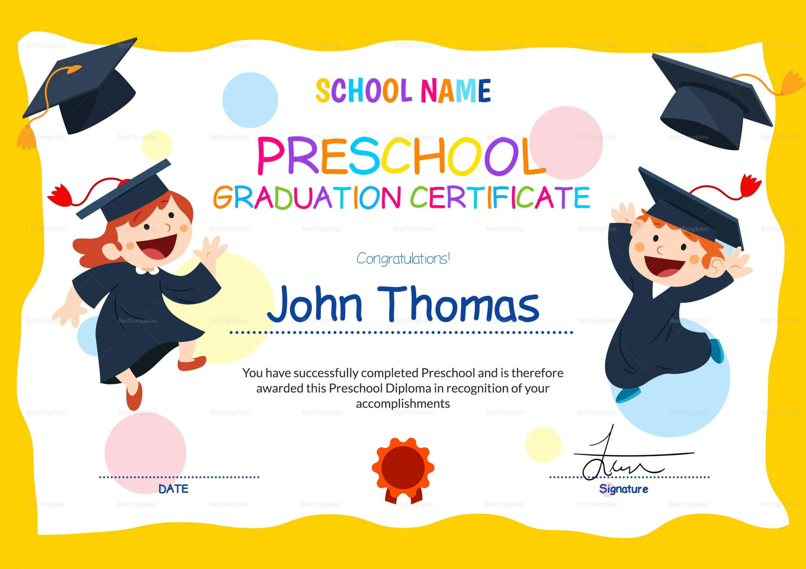 11+ Preschool Certificate Templates - Pdf | Free & Premium For Preschool Graduation Certificate Template Free